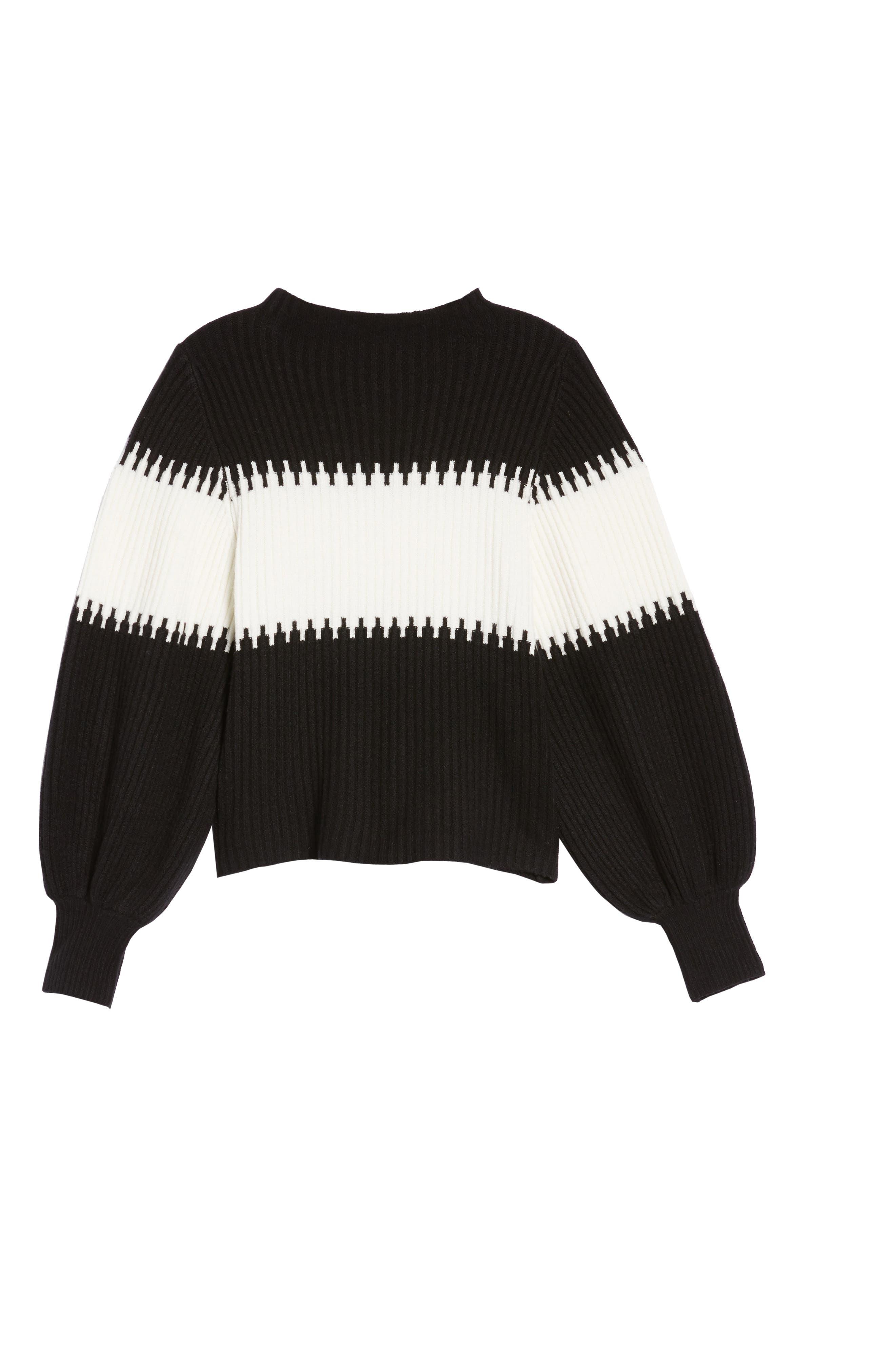 Sofia Puff Sleeve Sweater,                             Alternate thumbnail 6, color,                             001