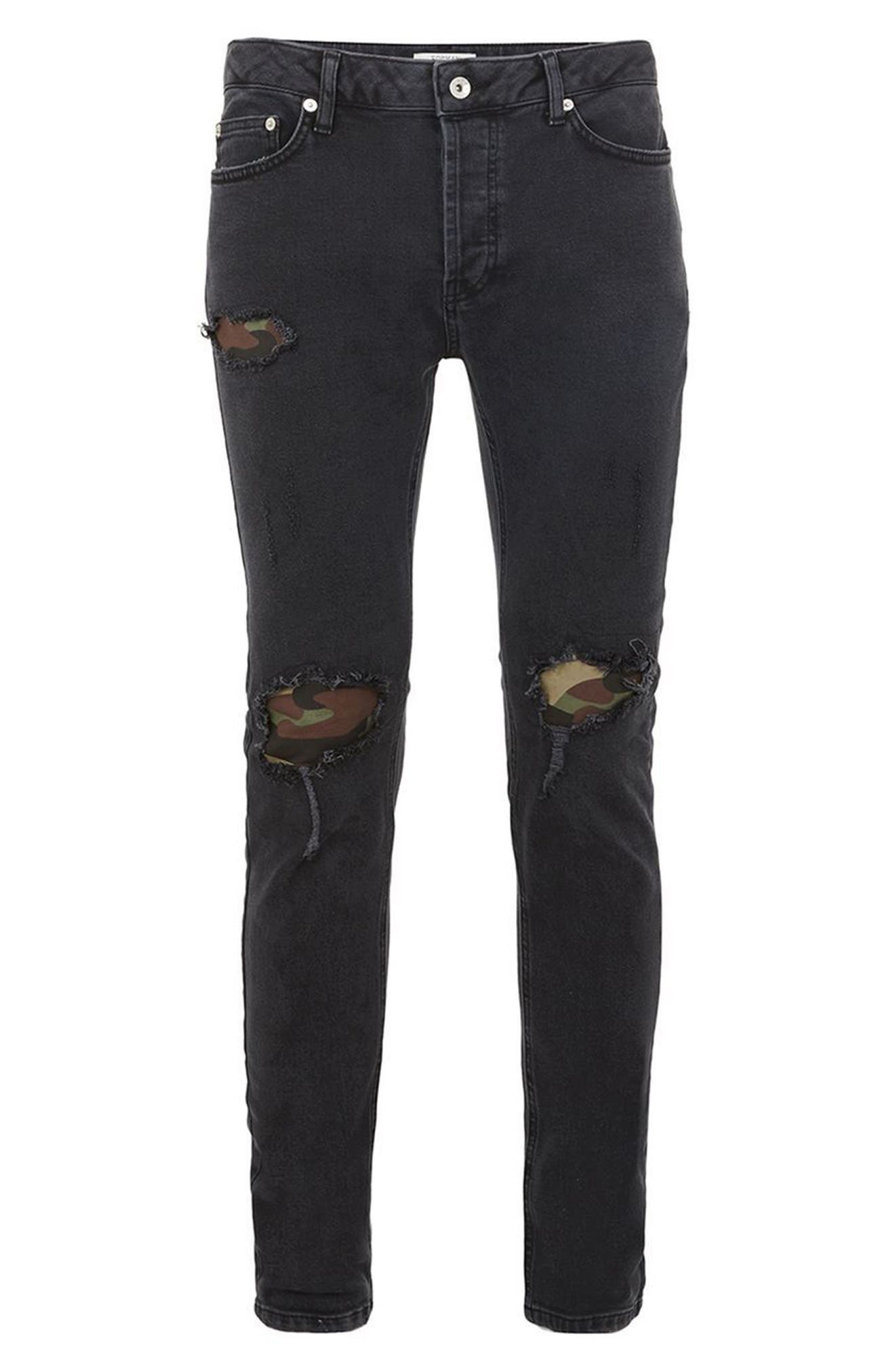 Camo Patch Skinny Jeans,                             Alternate thumbnail 4, color,                             001