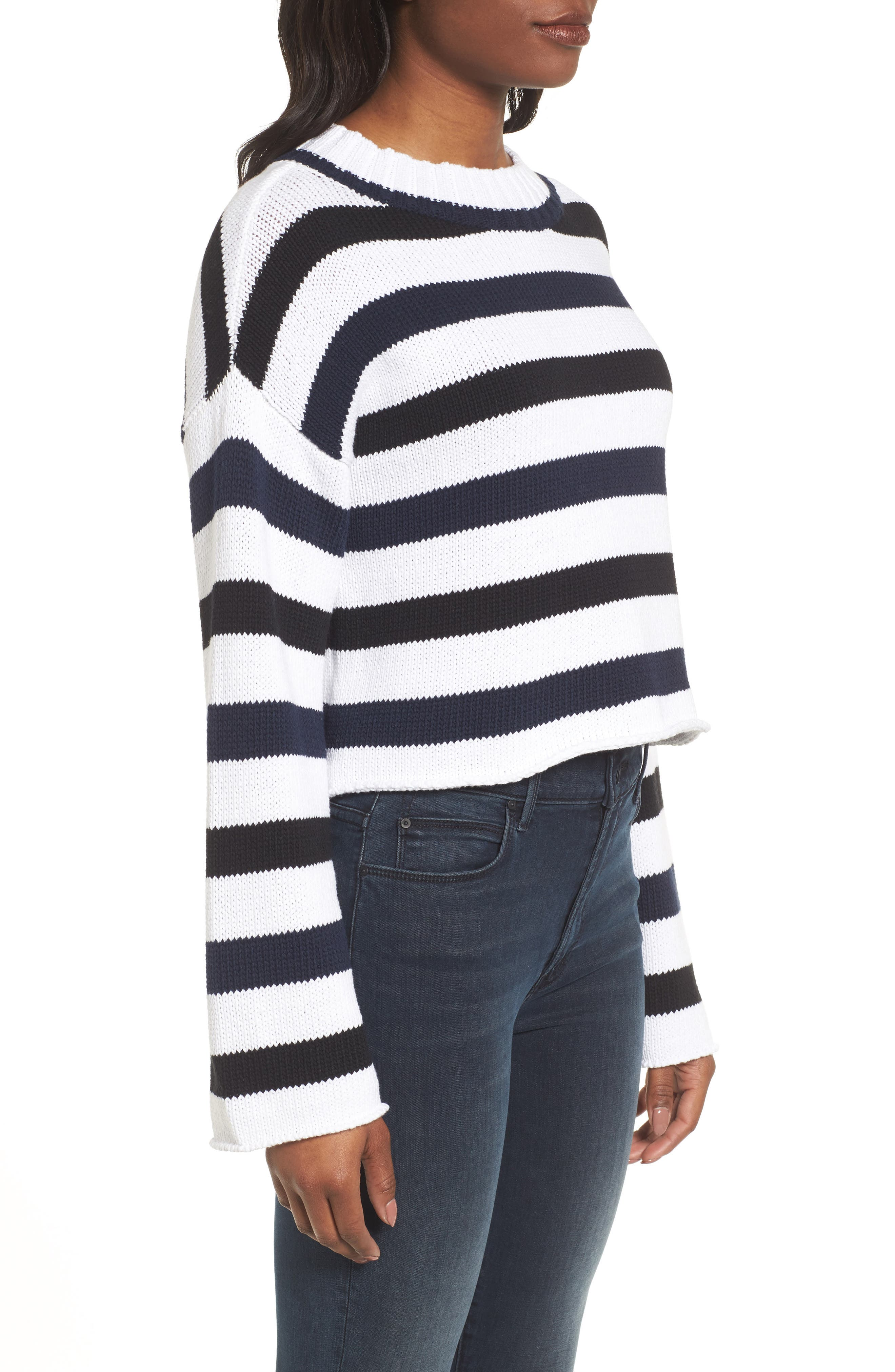 Wide Stripe Crop Sweater,                             Alternate thumbnail 3, color,                             INDIGO-WHITE