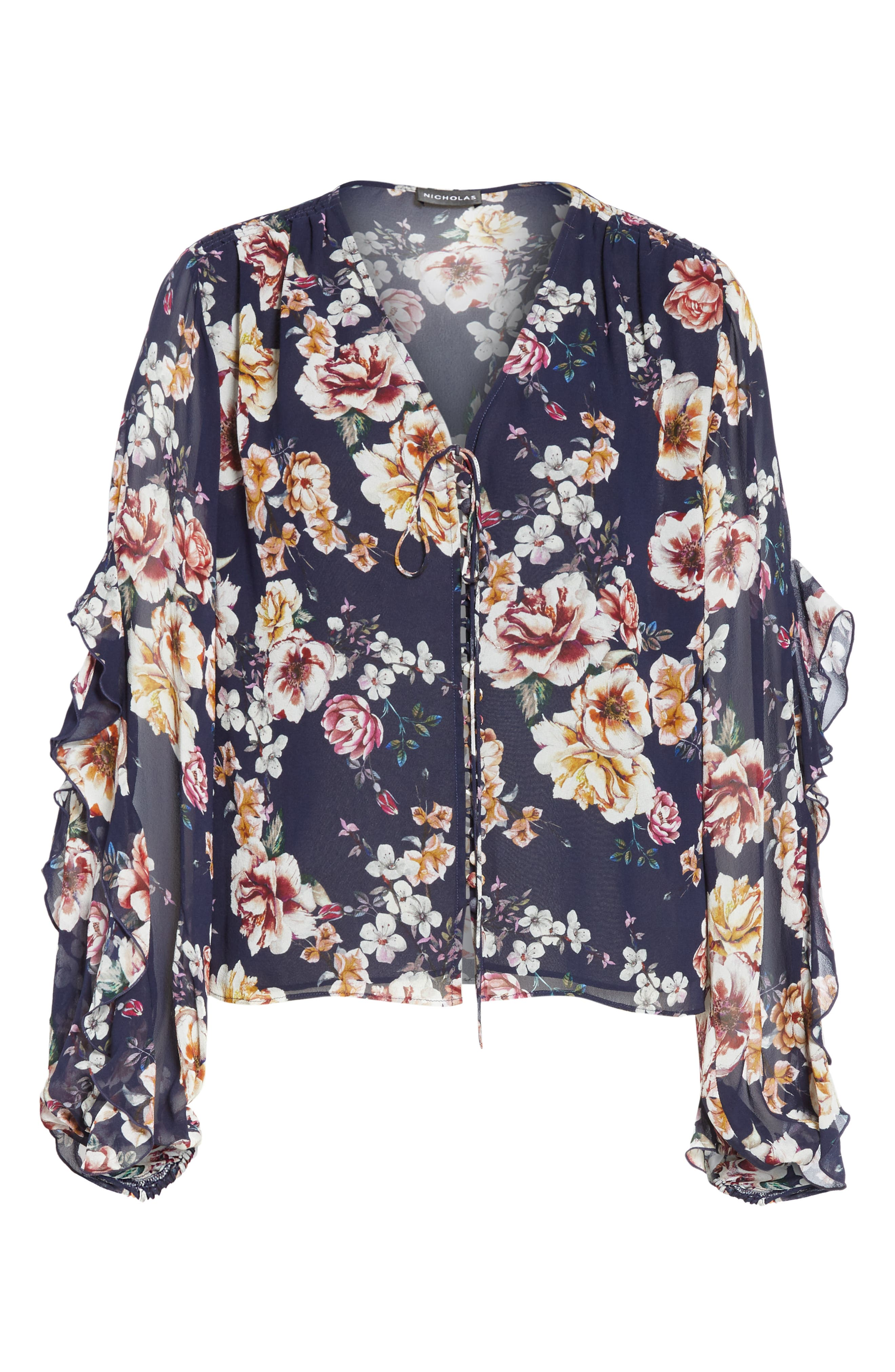 Garden Rose Silk Blouse,                             Alternate thumbnail 6, color,                             NAVY