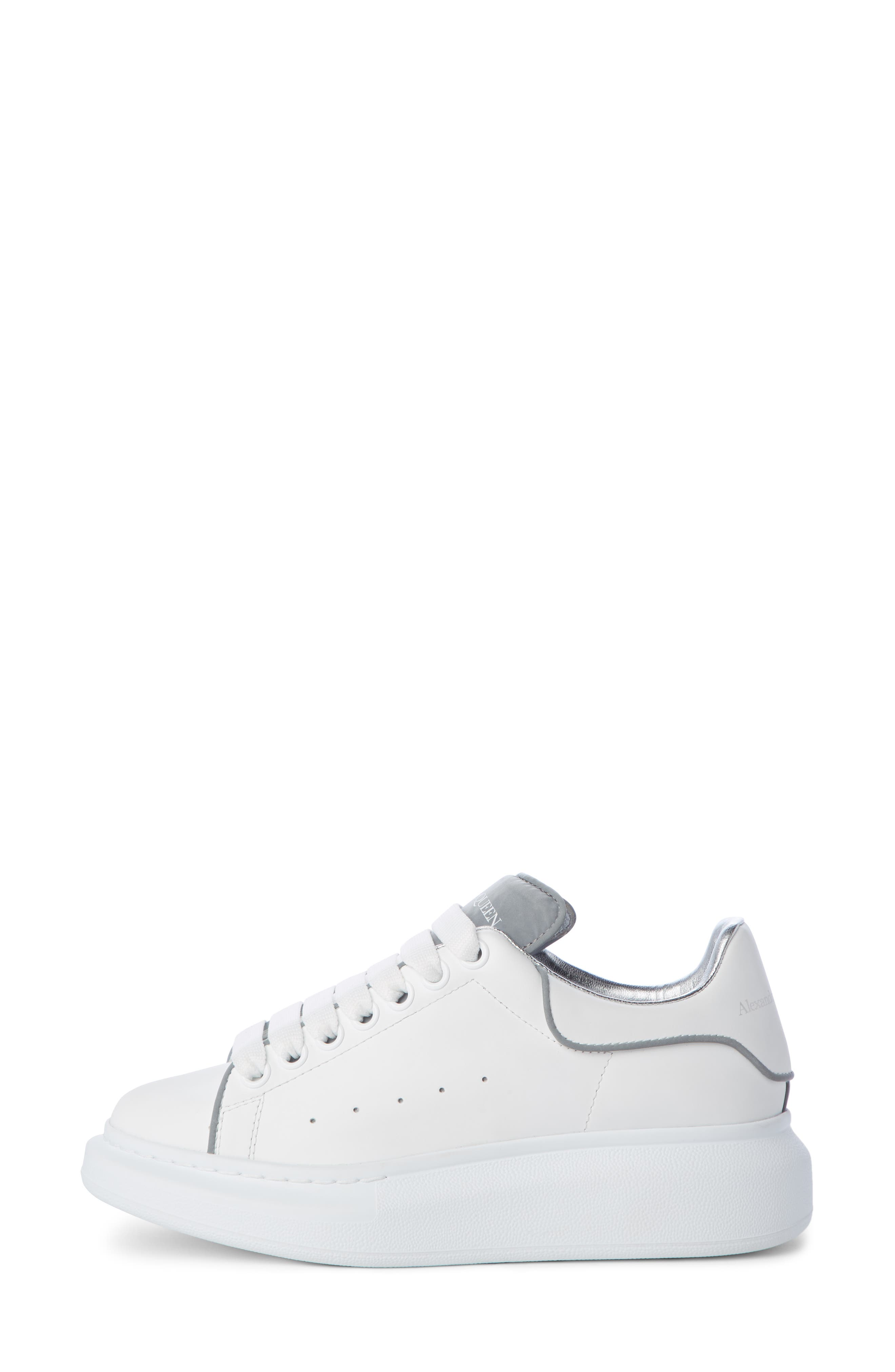ALEXANDER MCQUEEN,                             Sneaker,                             Alternate thumbnail 3, color,                             WHITE/ SILVER PIPING
