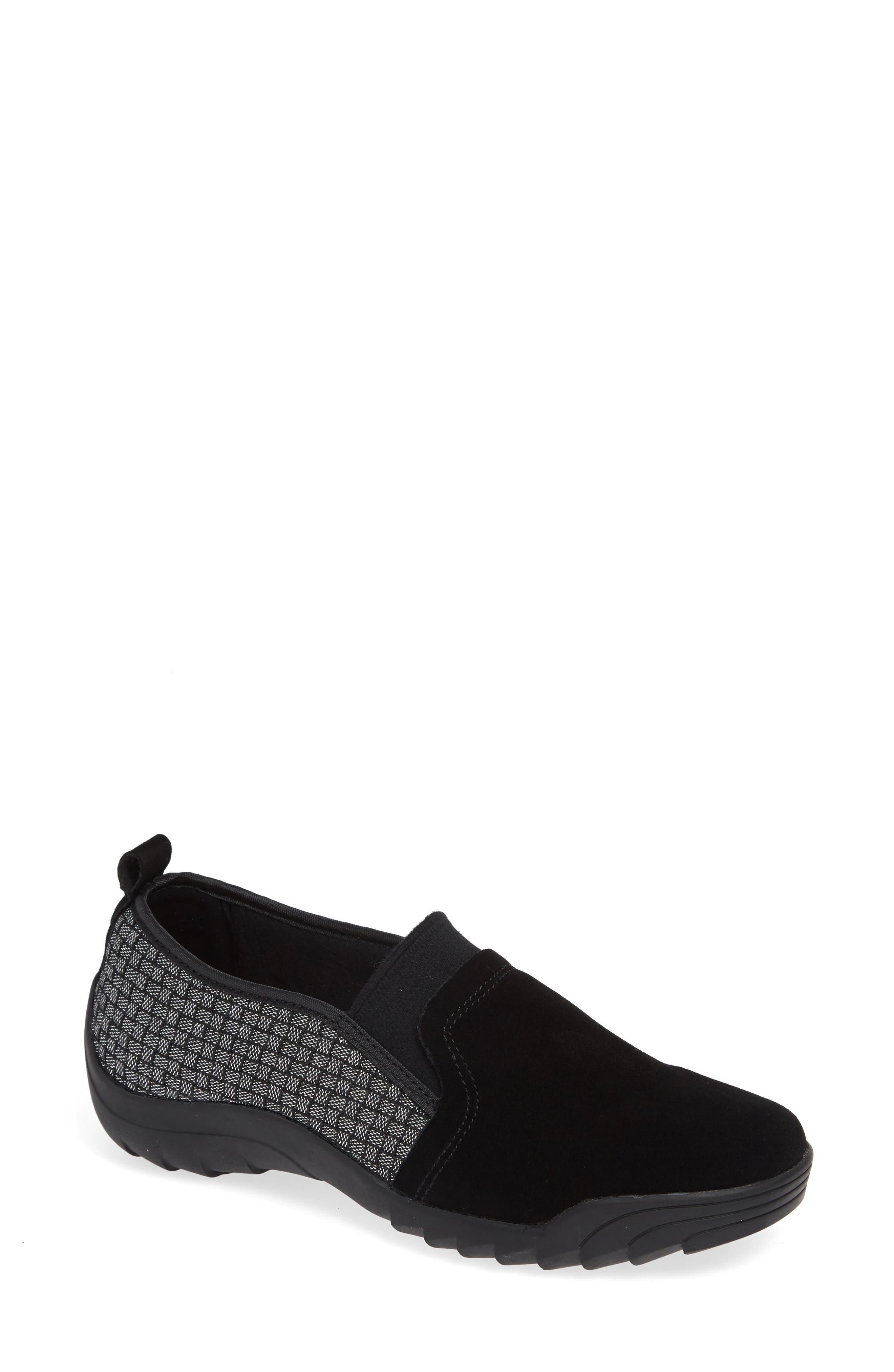 Swift Slip-On Sneaker,                             Main thumbnail 1, color,                             BLACK SHIMMER LEATHER