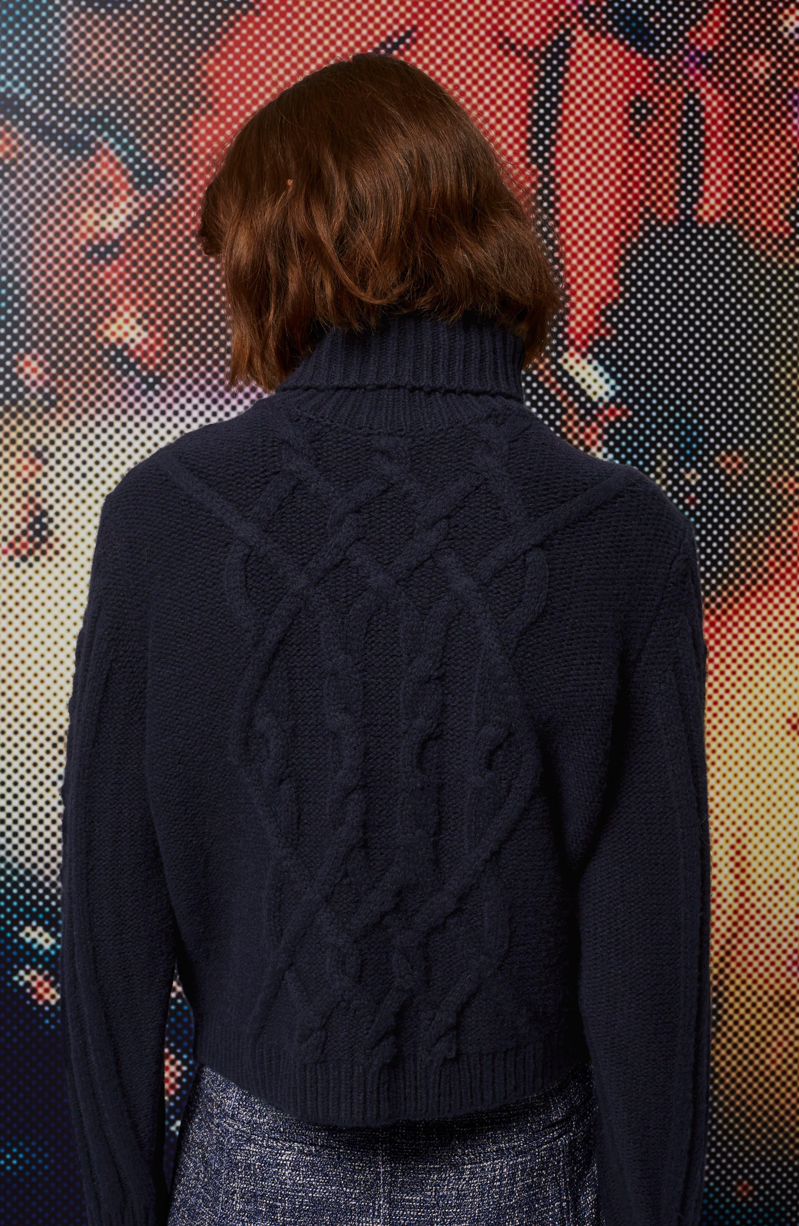 Cable Knit Turtleneck Sweater,                             Alternate thumbnail 3, color,