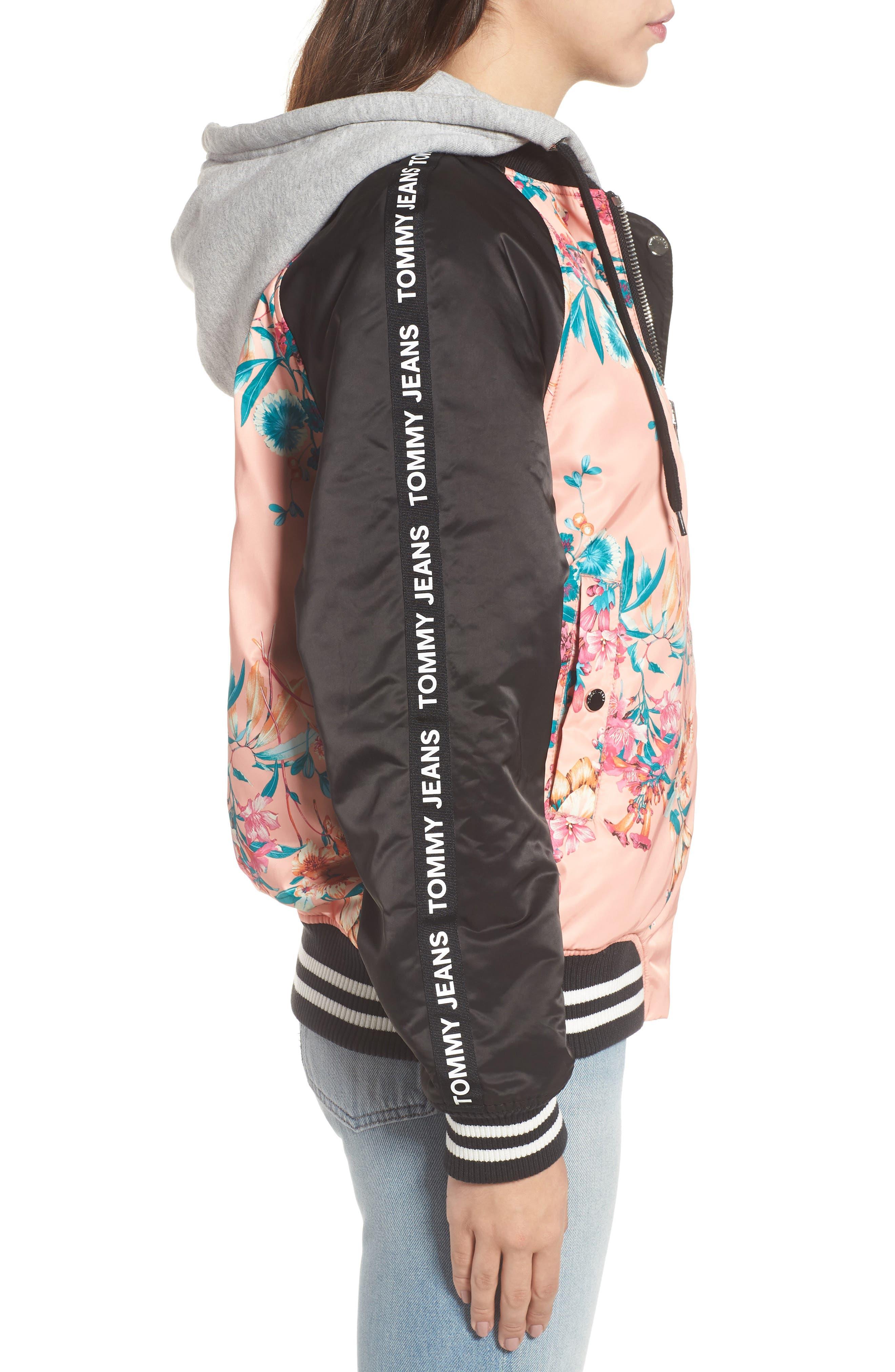 Reversible Floral Bomber Jacket,                             Alternate thumbnail 4, color,
