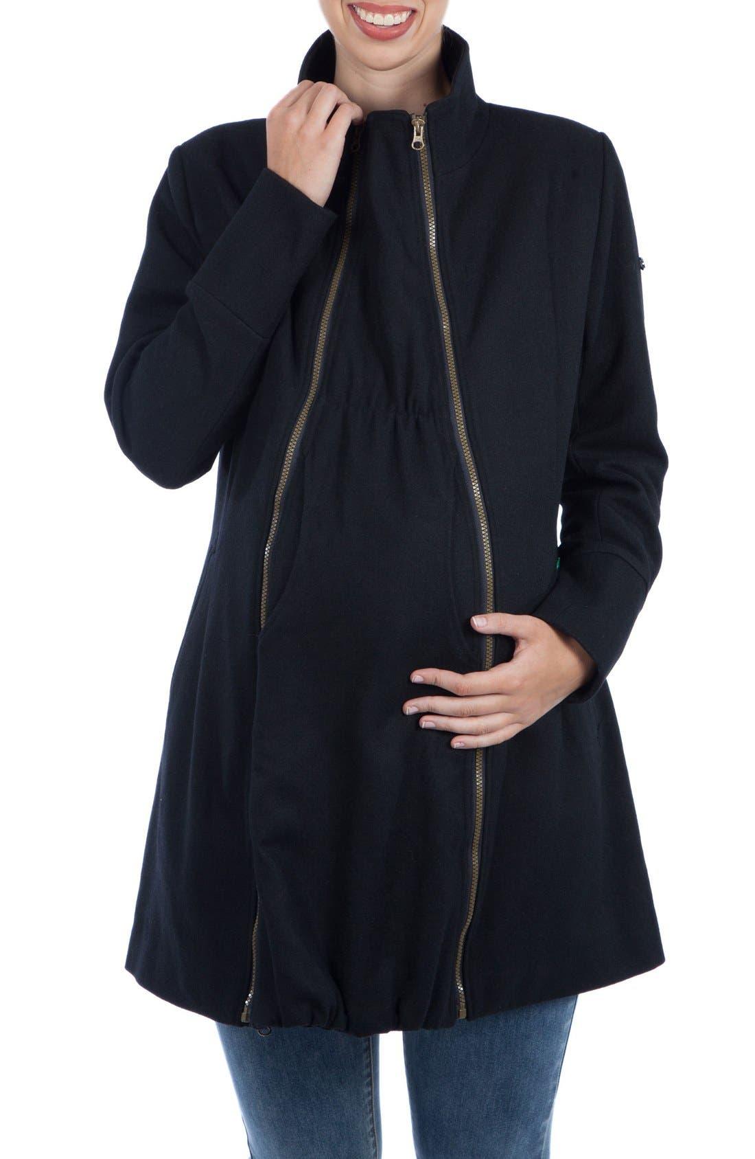 Convertible 3-in-1 Maternity/Nursing Coat,                         Main,                         color, BLACK