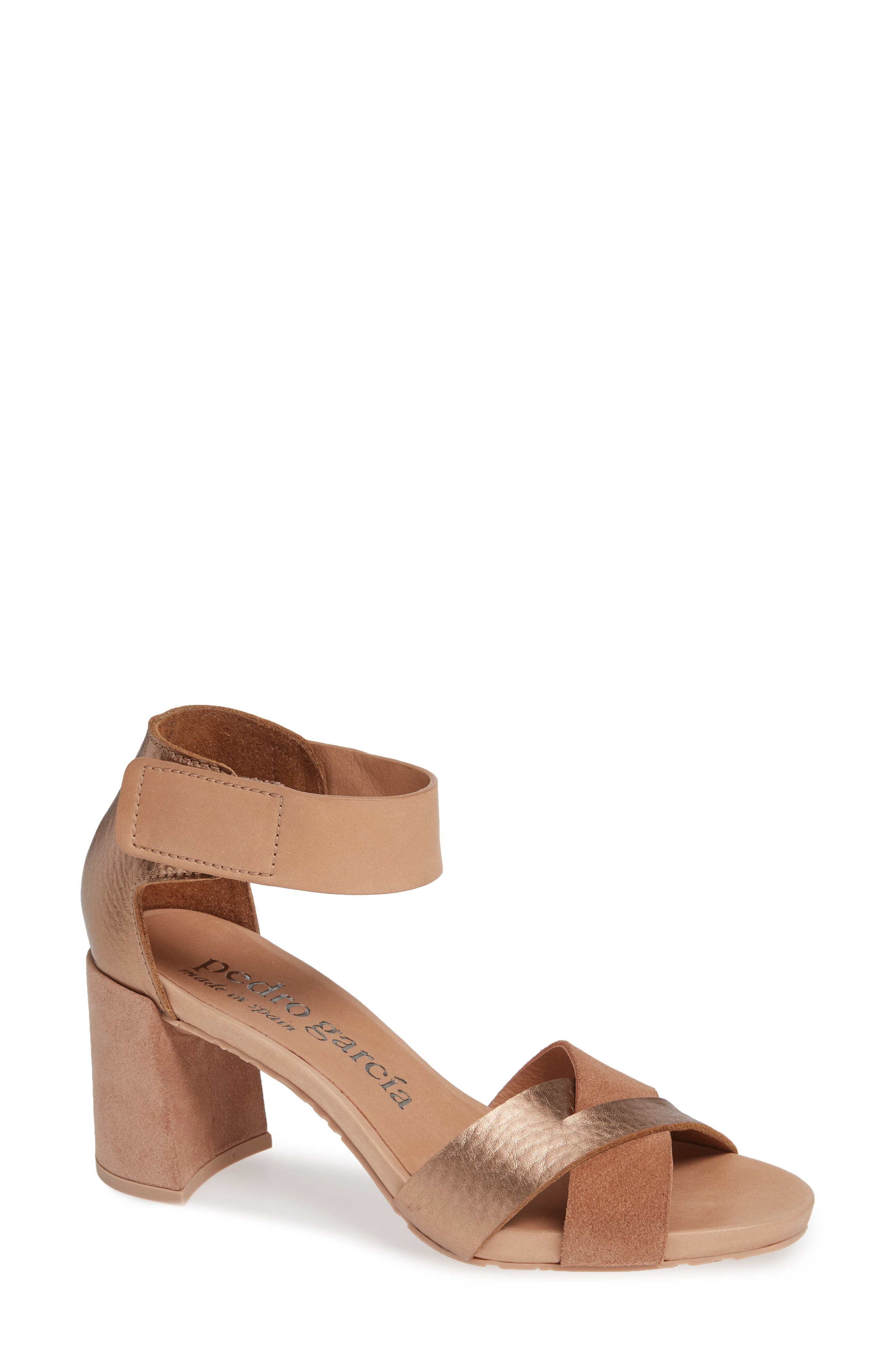 PEDRO GARCIA Whimsy Ankle Cuff Sandal, Main, color, ROSE CERVO LAME