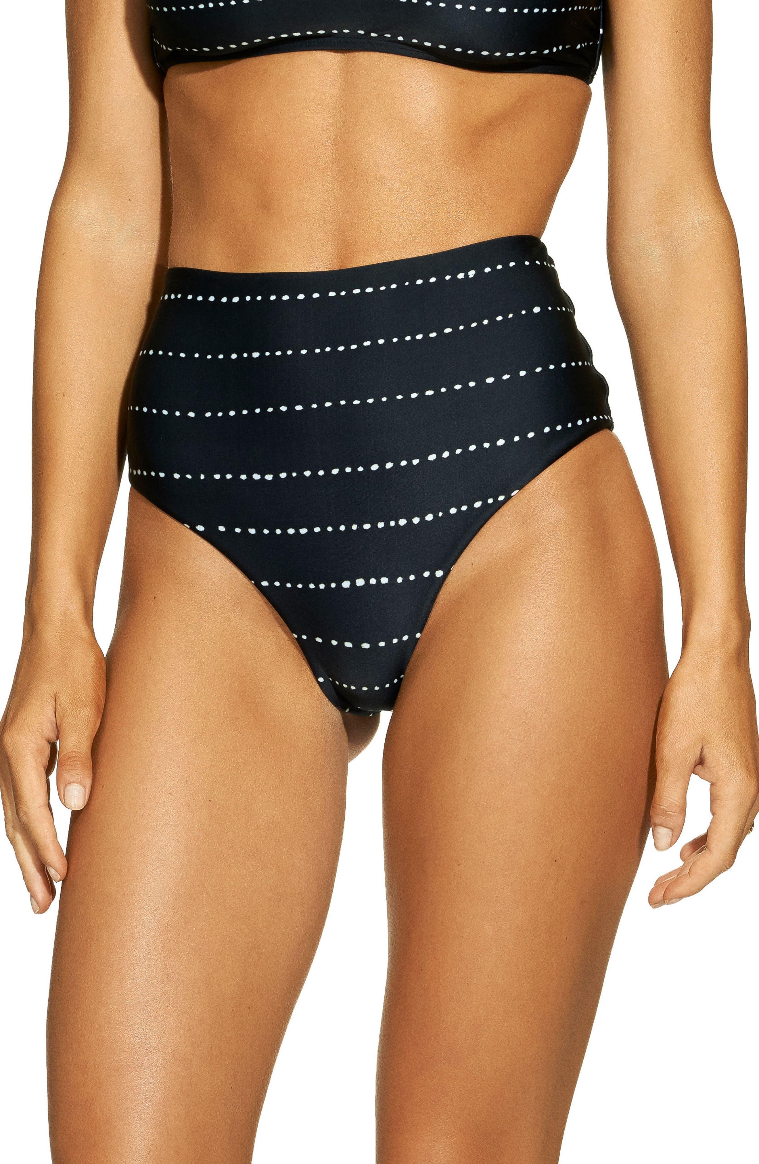 Stripe Dot High Waist Bikini Bottoms, Main, color, BLACK