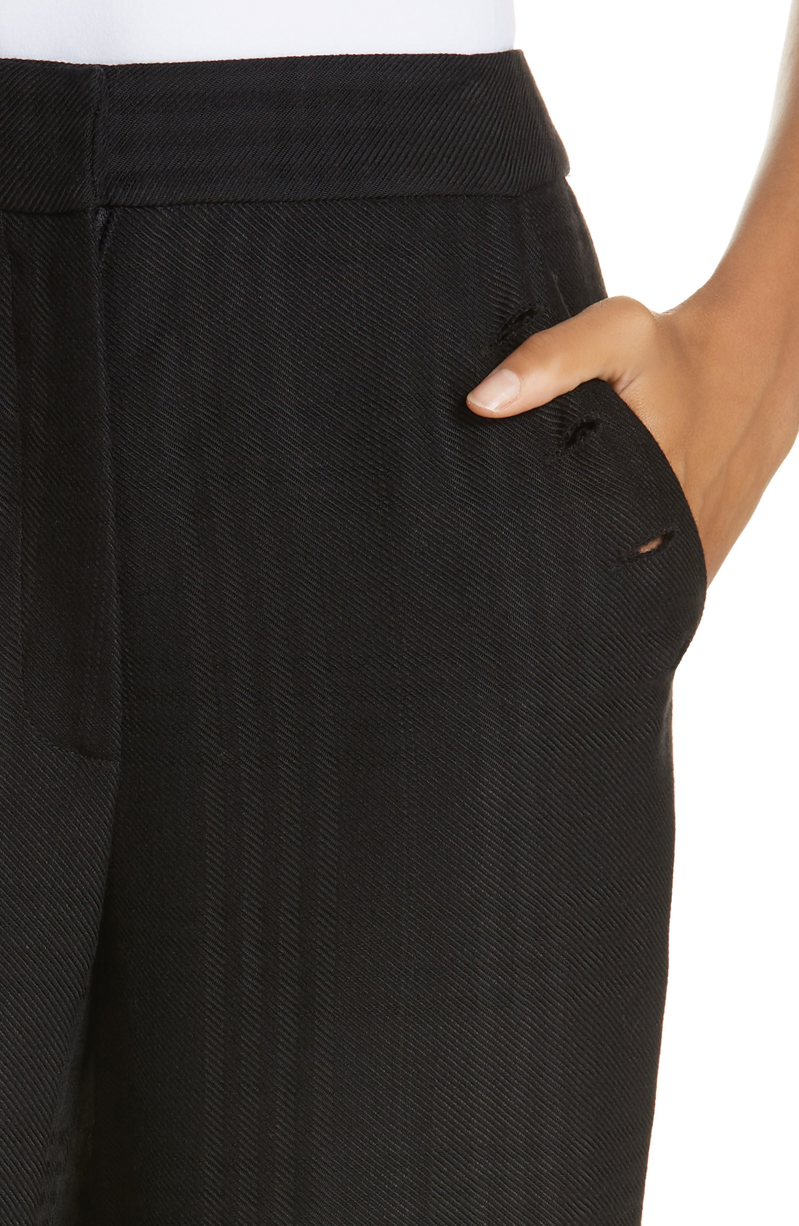 Tuli Check Button Detail Pants,                             Alternate thumbnail 4, color,                             BLACK/ BLACK