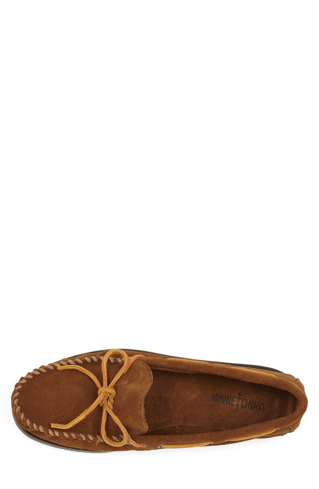 Leather Camp Moccasin,                             Alternate thumbnail 4, color,                             DUSTY BROWN
