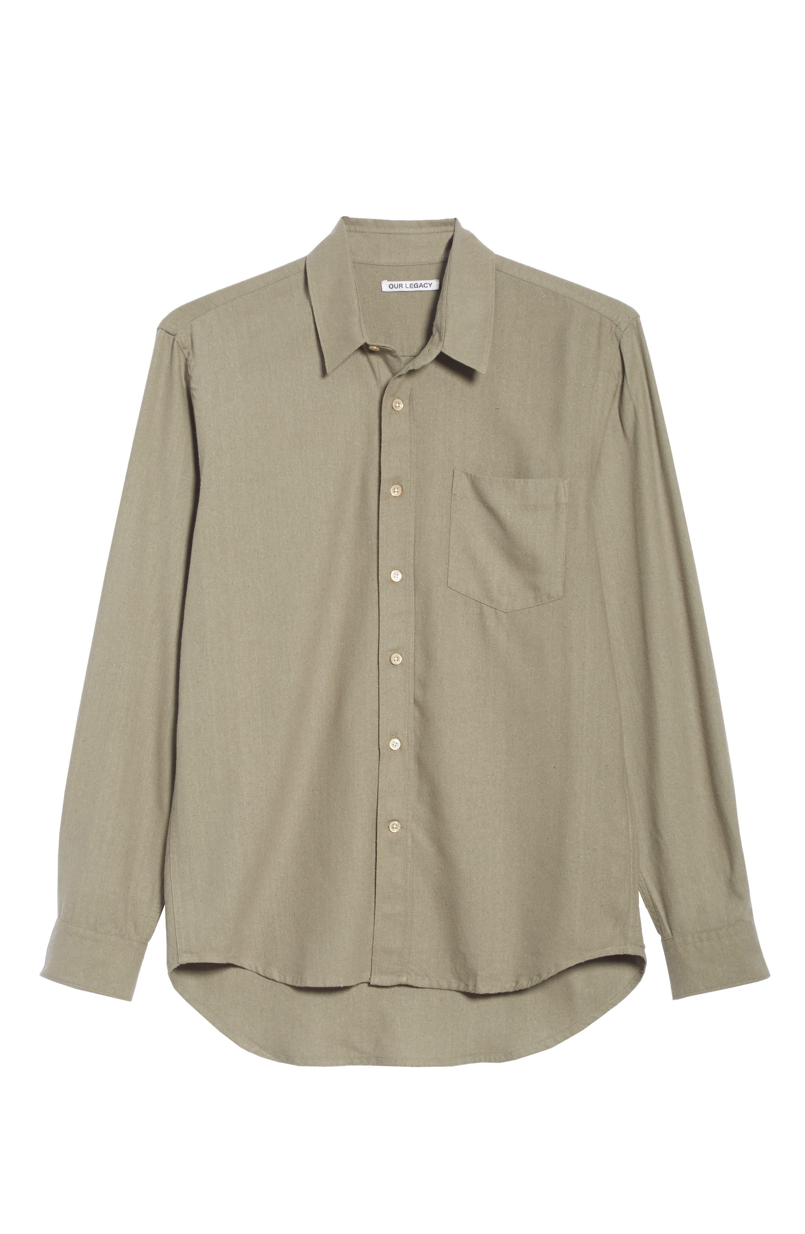 Silk Shirt,                             Alternate thumbnail 6, color,                             DRAB NOIL