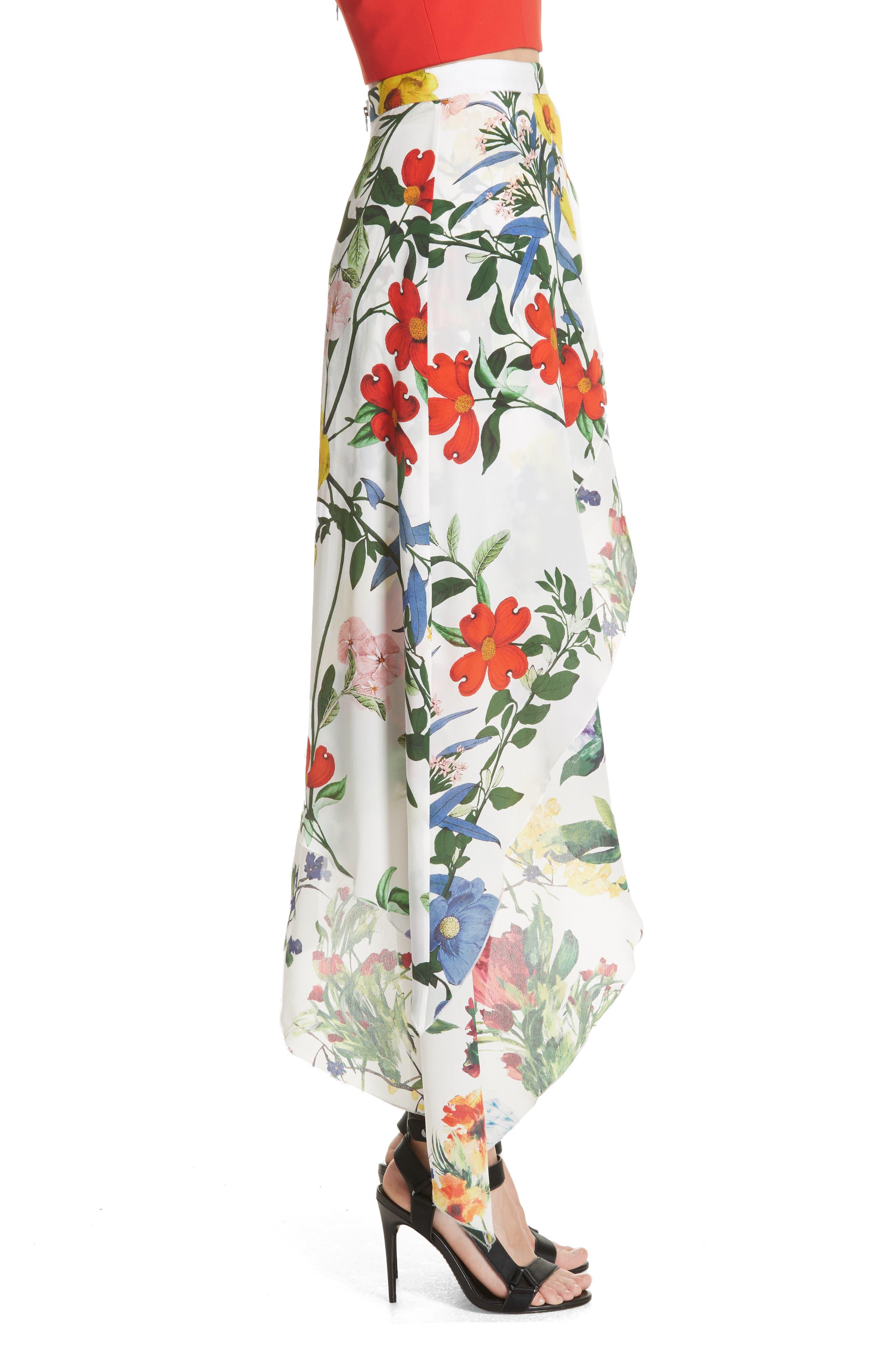 Joeann Asymmetrical Floral Silk Skirt,                             Alternate thumbnail 3, color,                             178