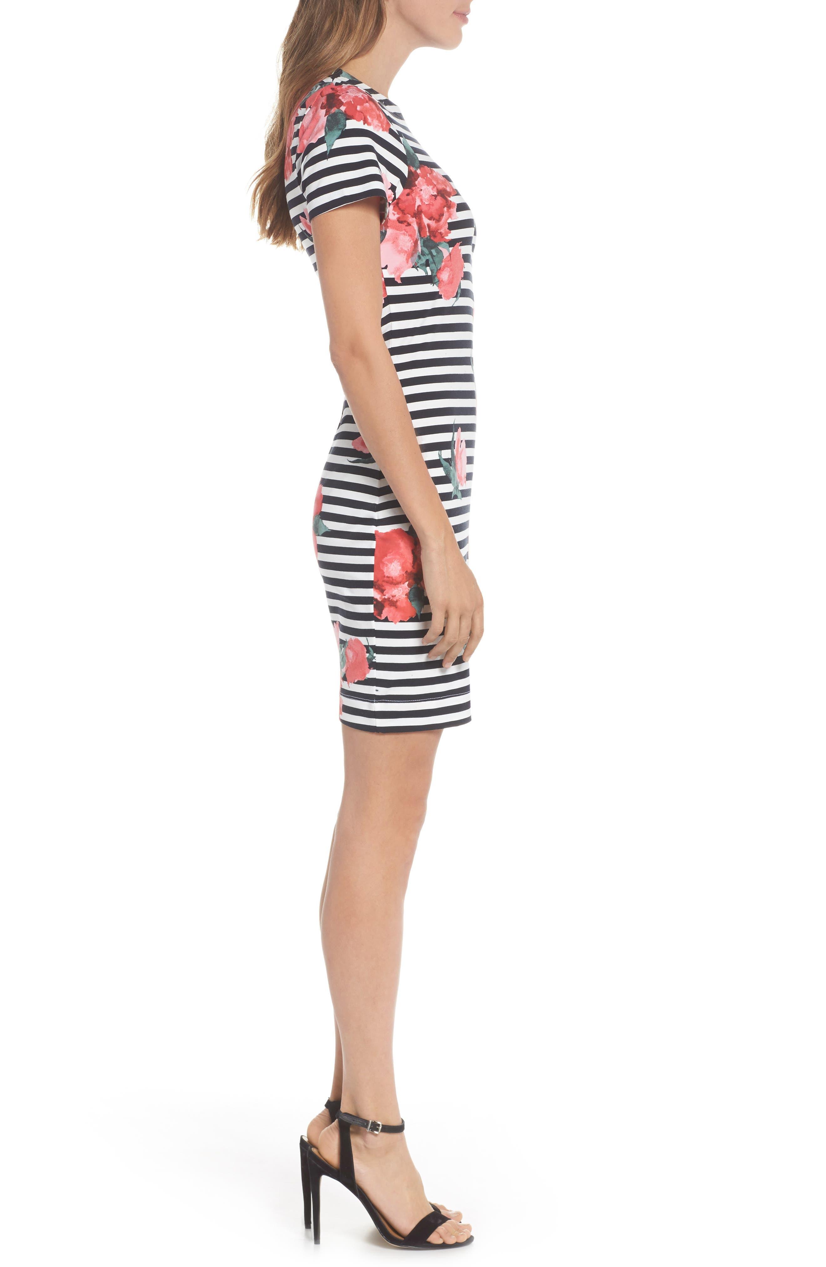 Jude Flower Stripe Knit Dress,                             Alternate thumbnail 3, color,                             488