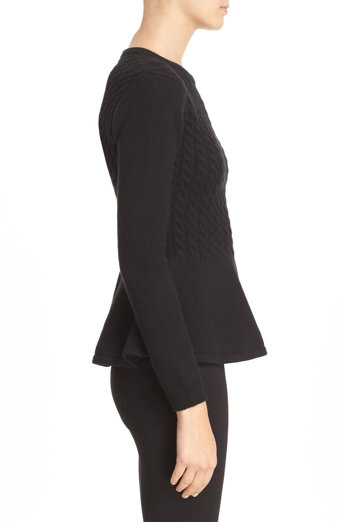 TED BAKER LONDON,                             'Mereda' Cable Knit Peplum Sweater,                             Alternate thumbnail 3, color,                             001