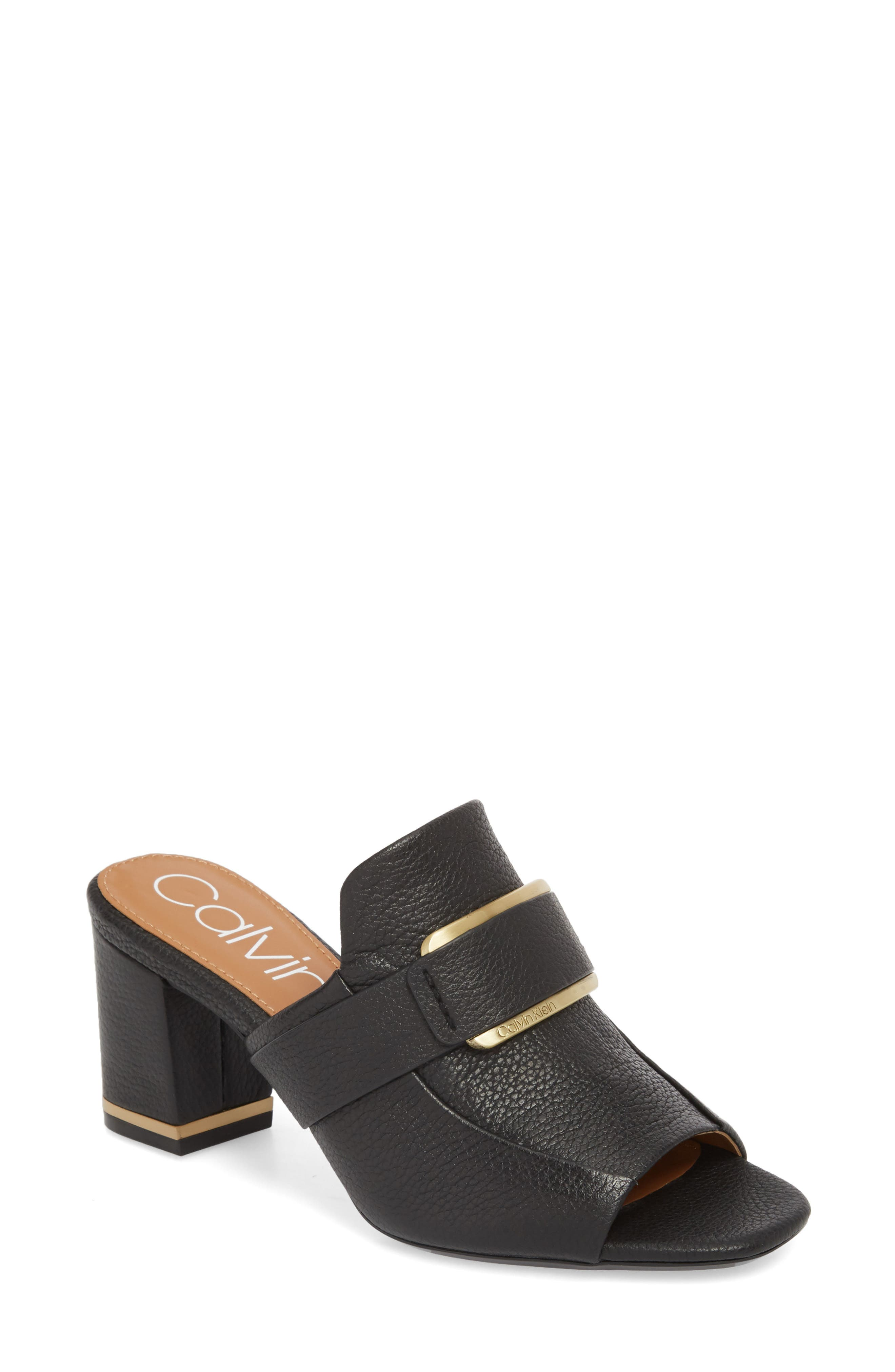 Corinne Sandal,                         Main,                         color, BLACK LEATHER