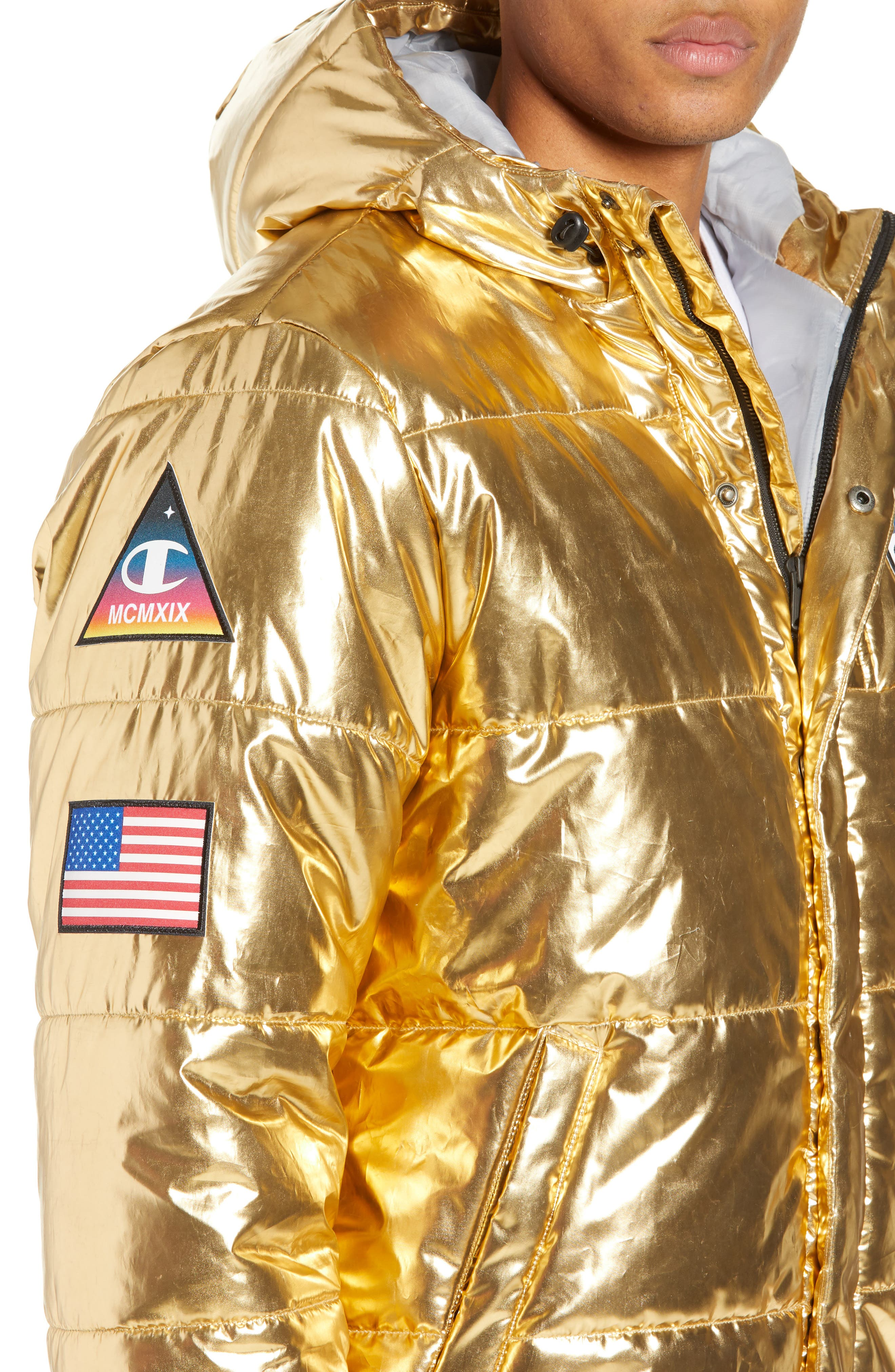 CHAMPION,                             Metallic Puffer Coat,                             Alternate thumbnail 5, color,                             718