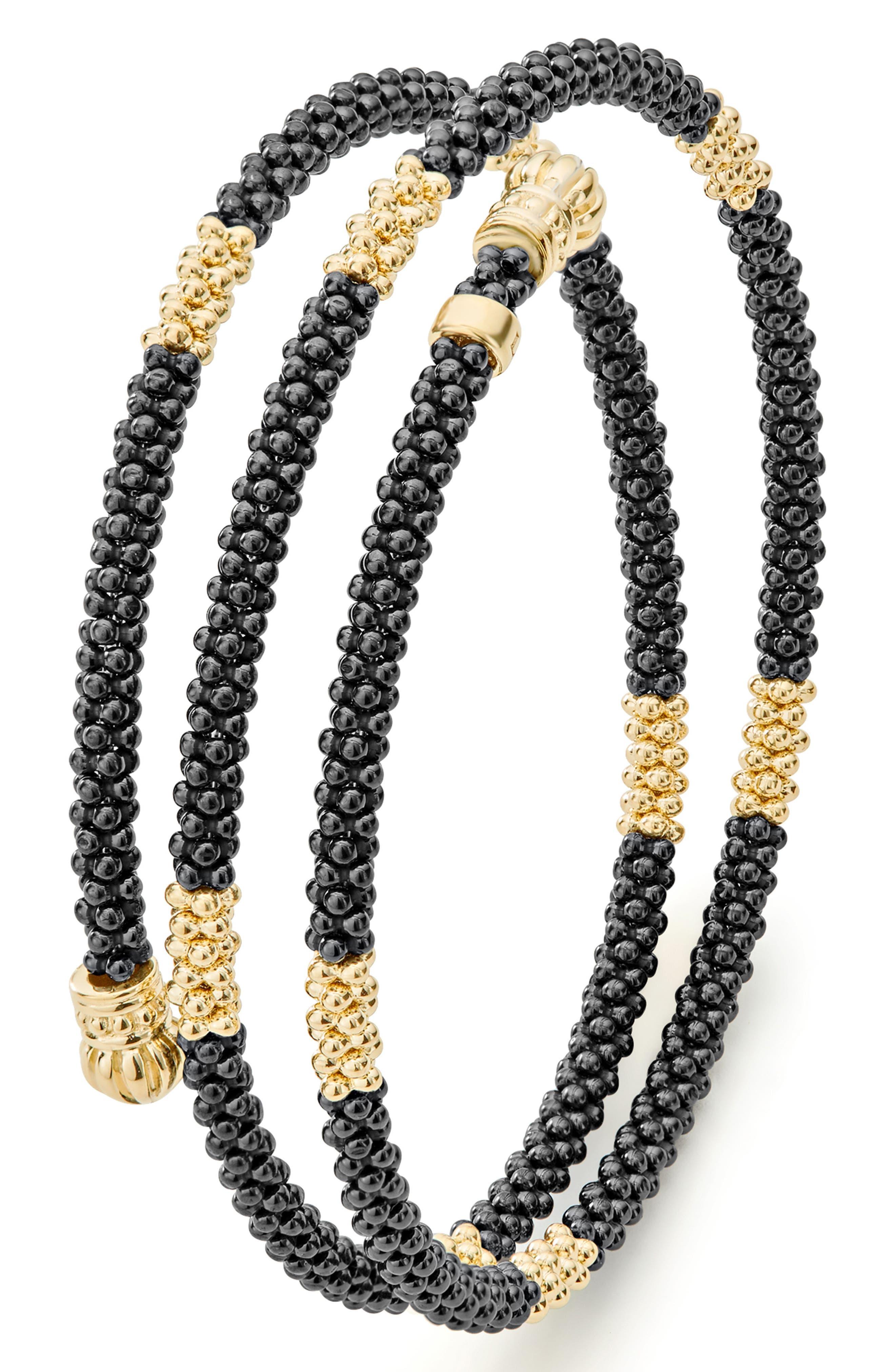 Gold & Black Caviar Coil Bracelet,                             Alternate thumbnail 6, color,                             GOLD