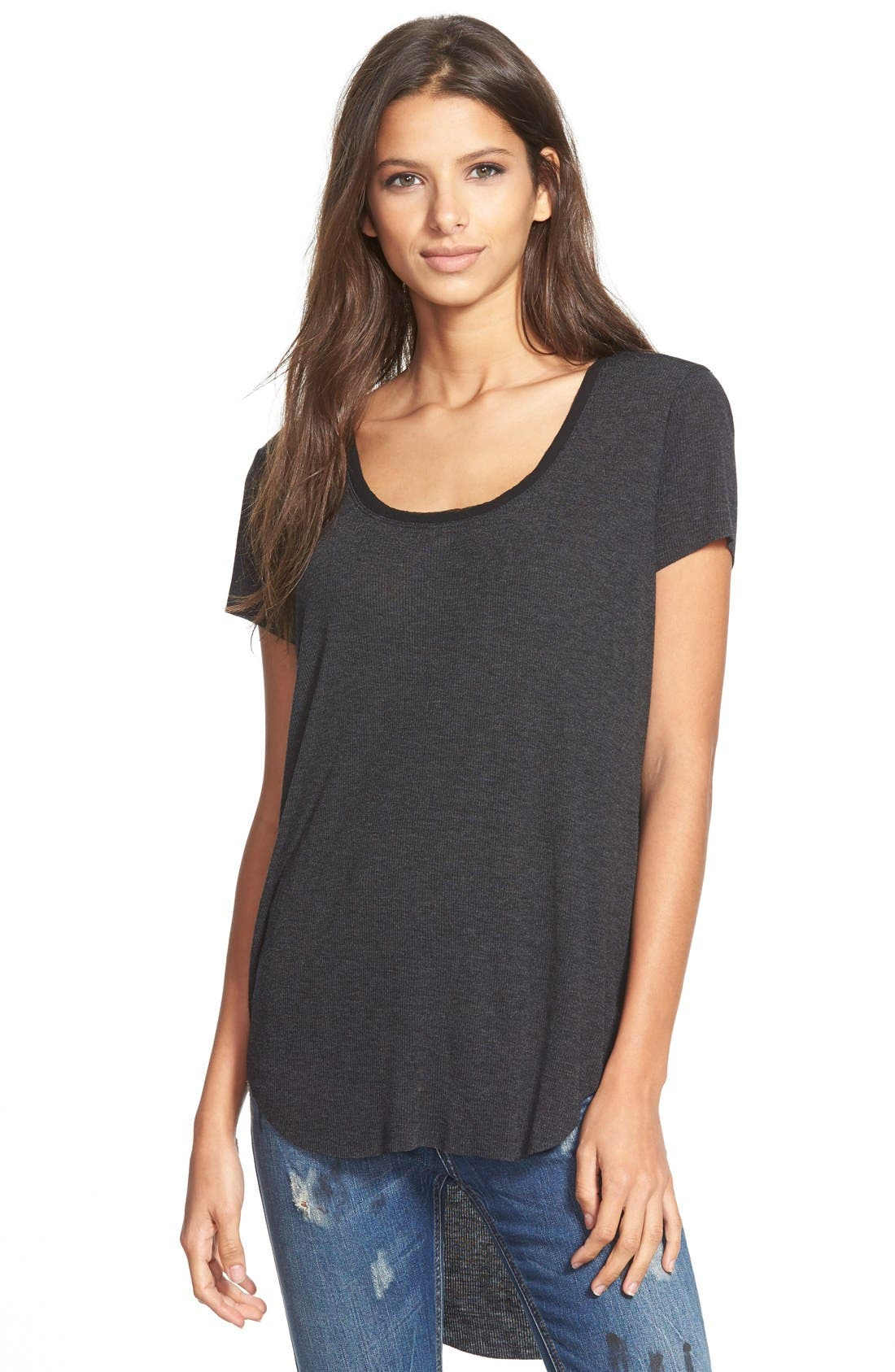 Scoop Neck Tee,                             Main thumbnail 1, color,                             020