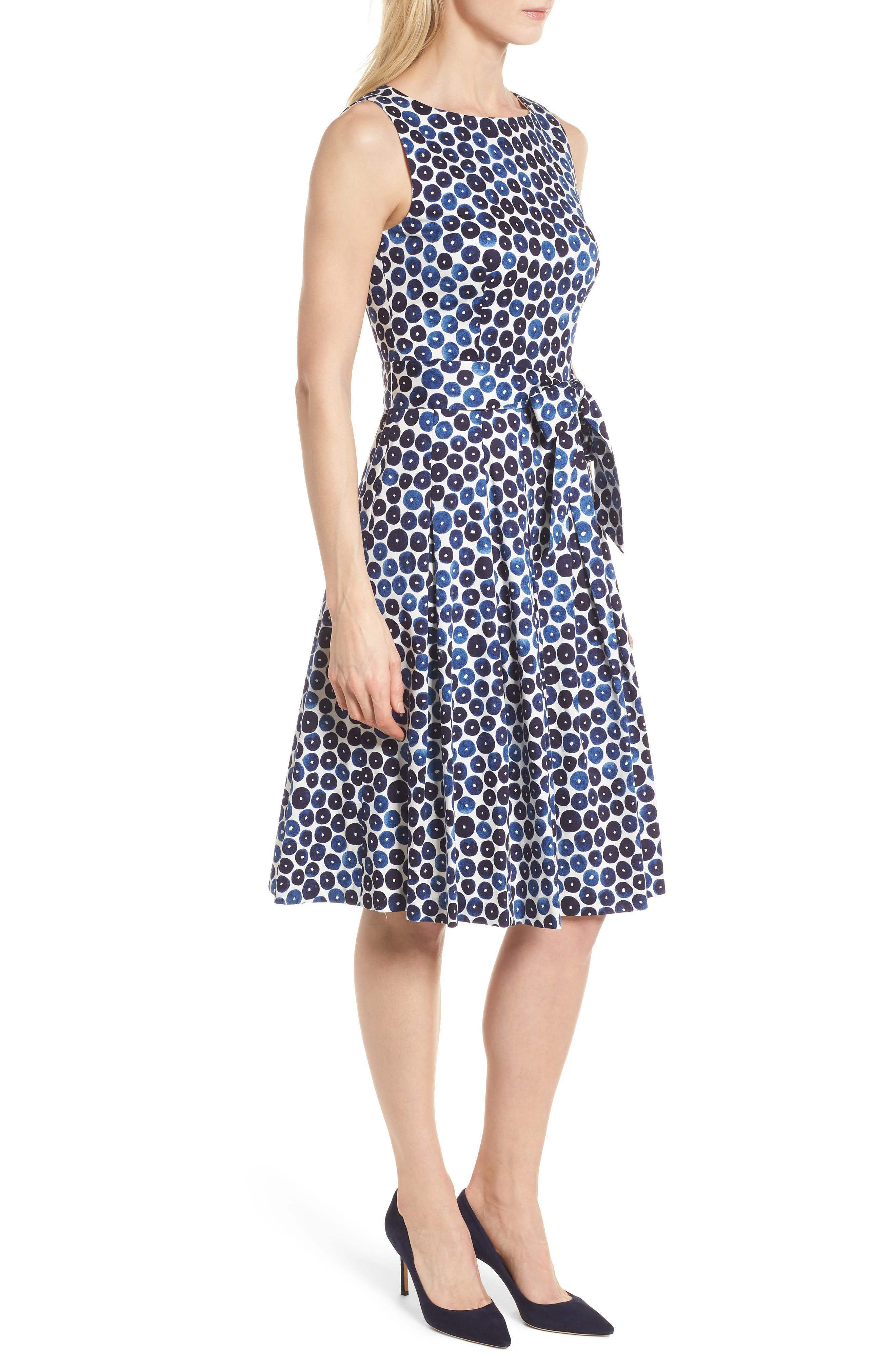 Neroli Print Cotton Sateen Dress,                             Alternate thumbnail 3, color,                             400