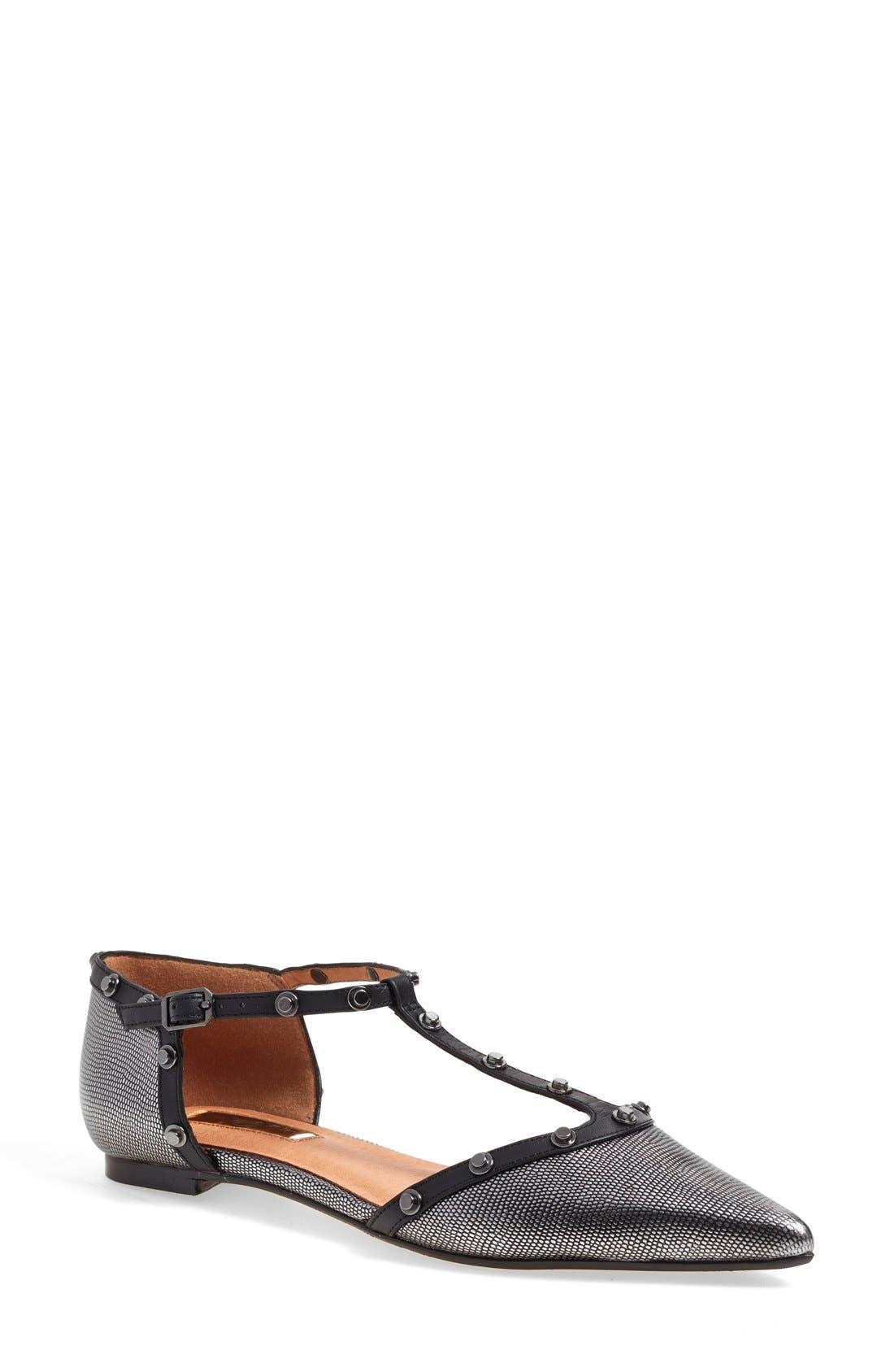 'Olson' Pointy Toe Studded T-Strap Flat,                             Main thumbnail 4, color,