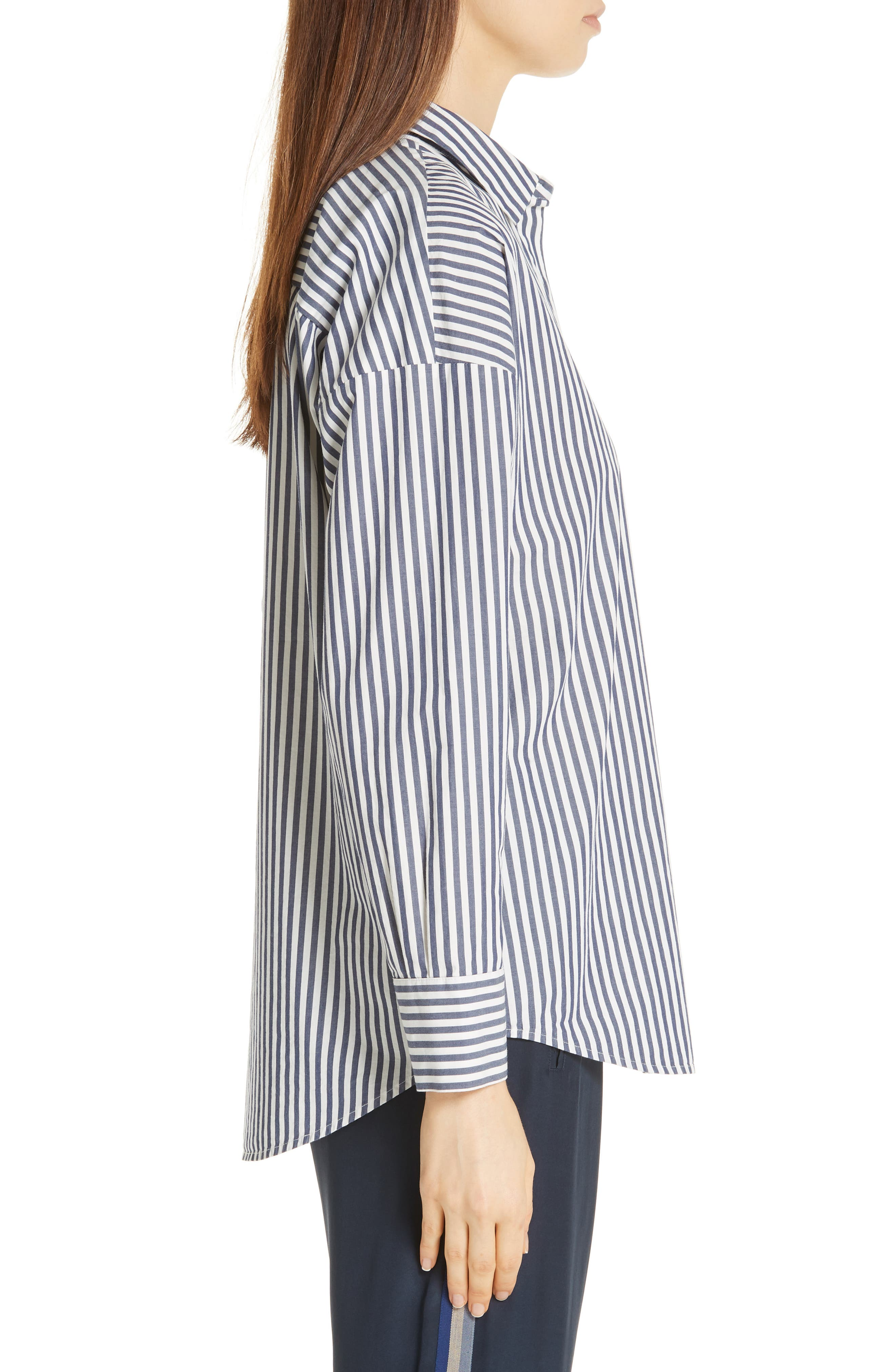 Railroad Stripe Boyfriend Shirt,                             Alternate thumbnail 3, color,                             NAVY/ WHITE