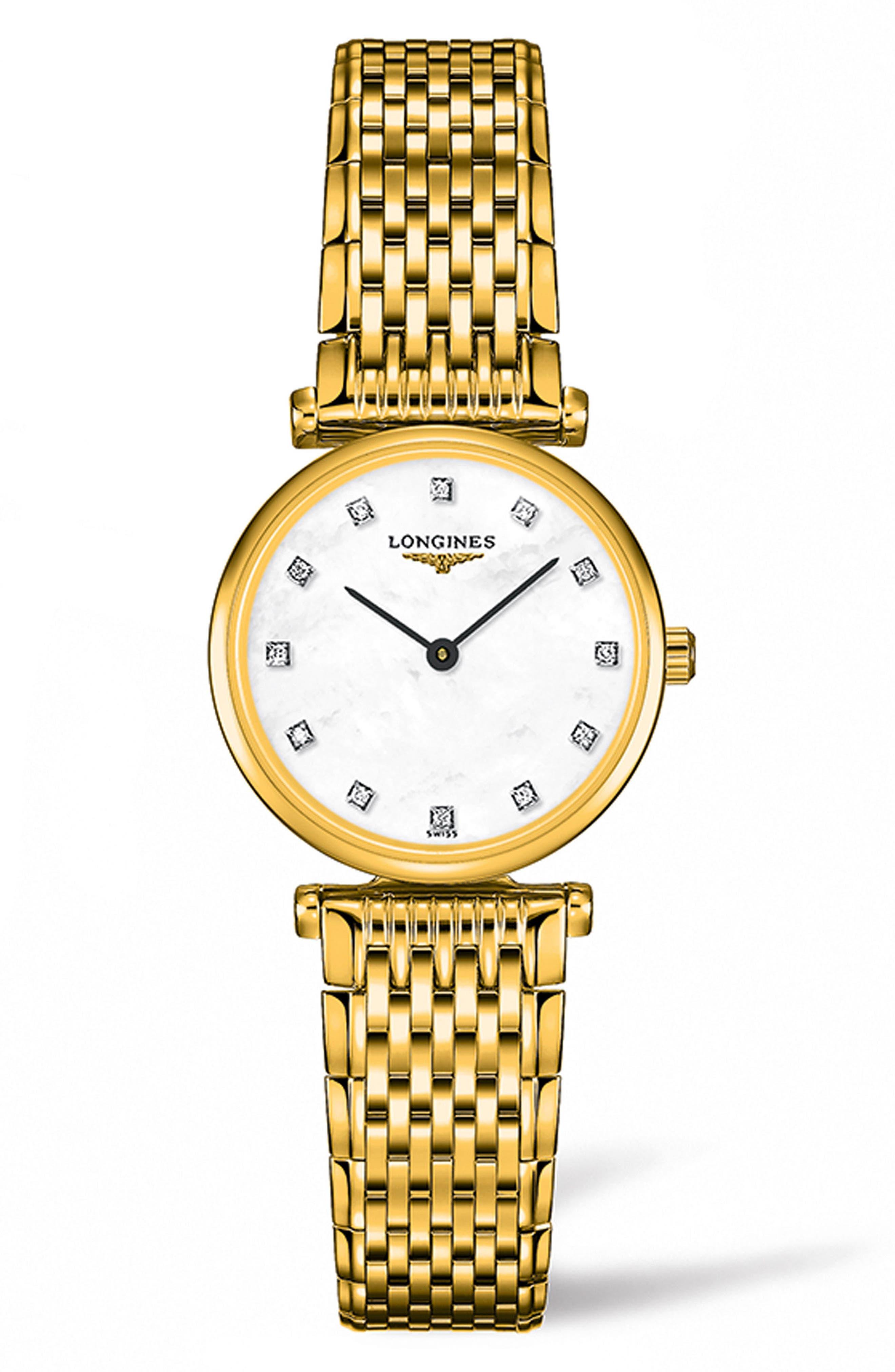 LONGINES,                             La Grande Classique de Longines Diamond Bracelet Watch, 24mm,                             Main thumbnail 1, color,                             GOLD/ MOP/ GOLD