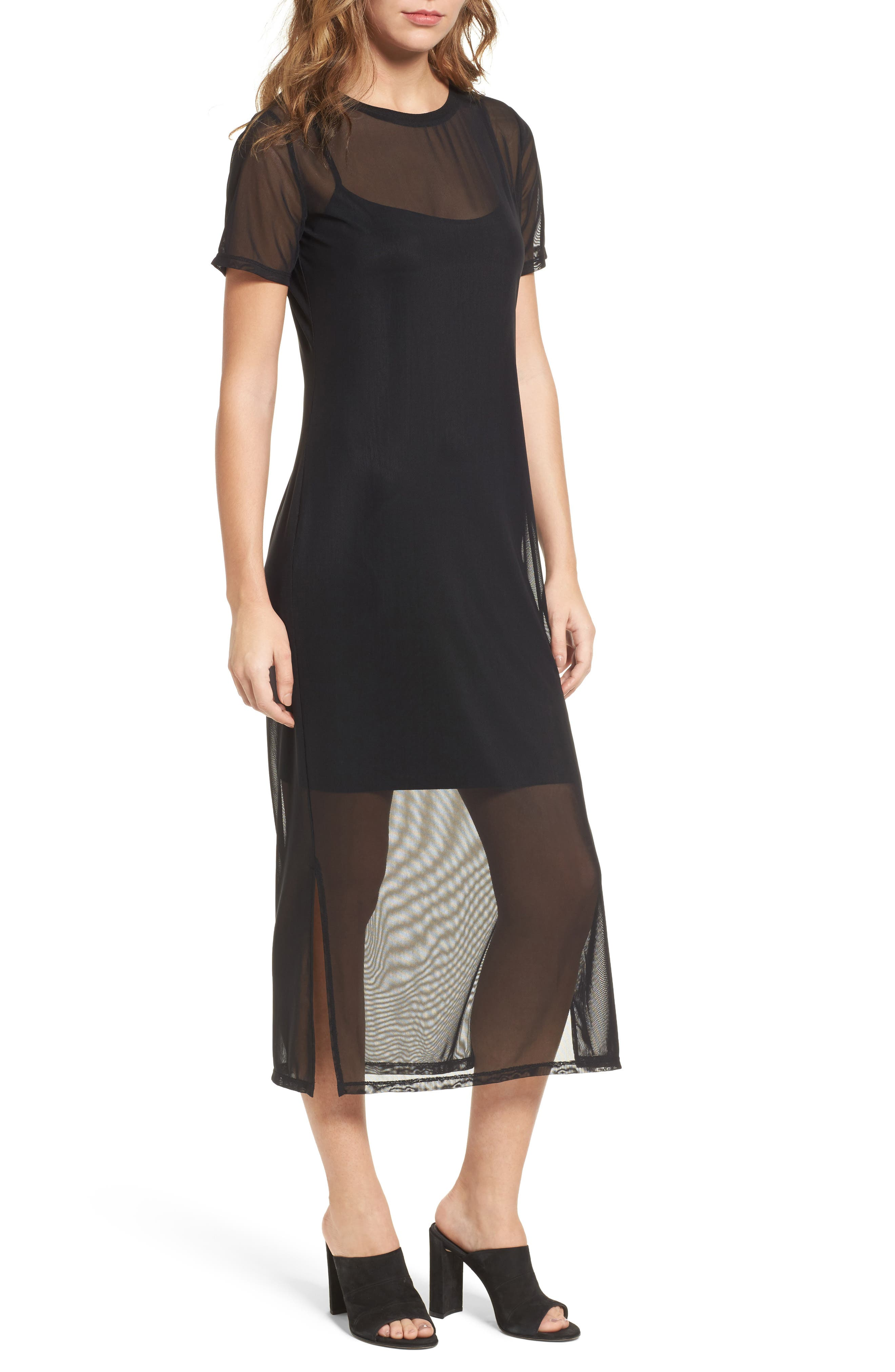 Mesh Midi Dress,                         Main,                         color,