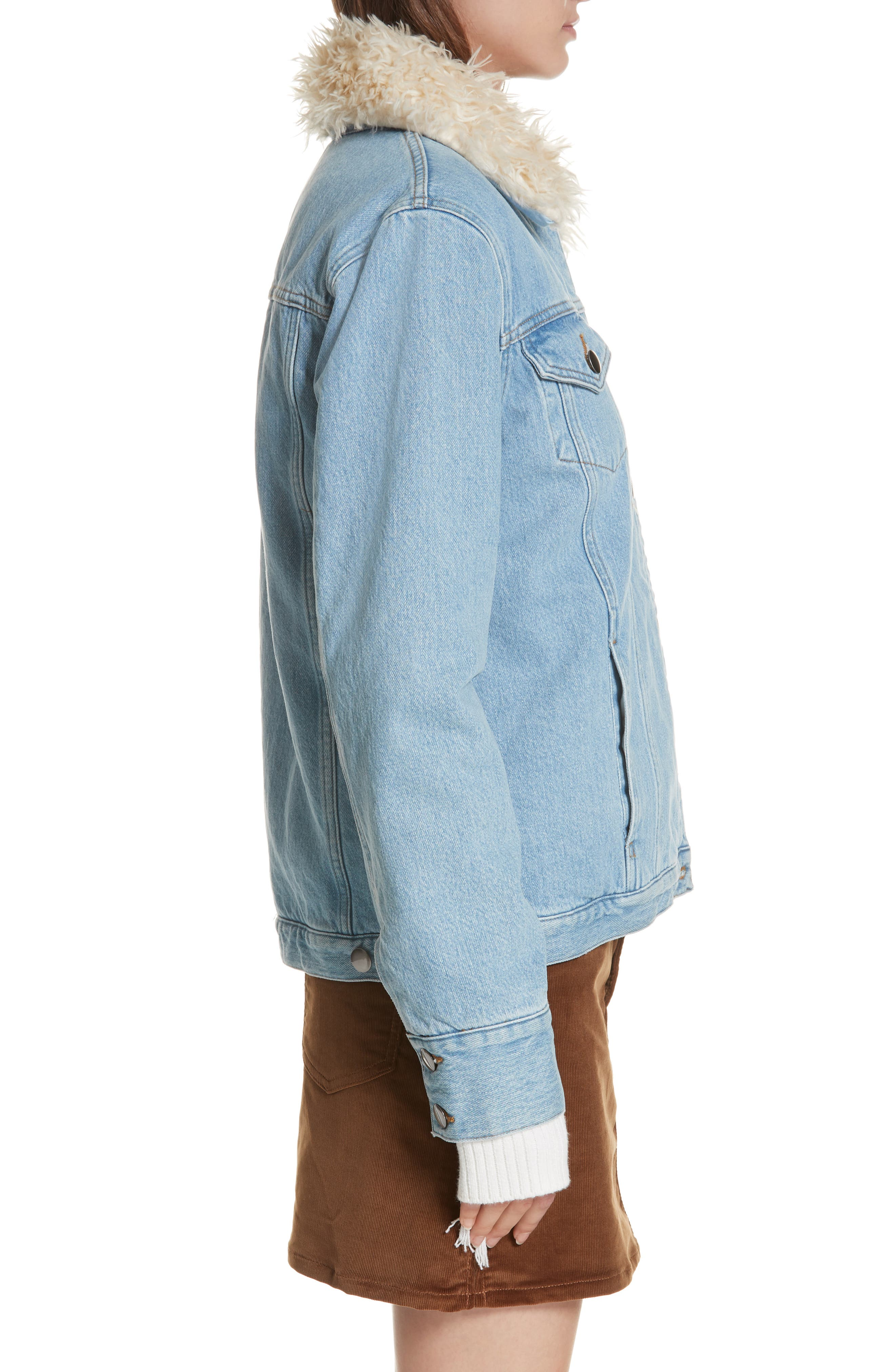 Le Curly Faux Shearling Collar Denim Jacket,                             Alternate thumbnail 3, color,                             MONROE