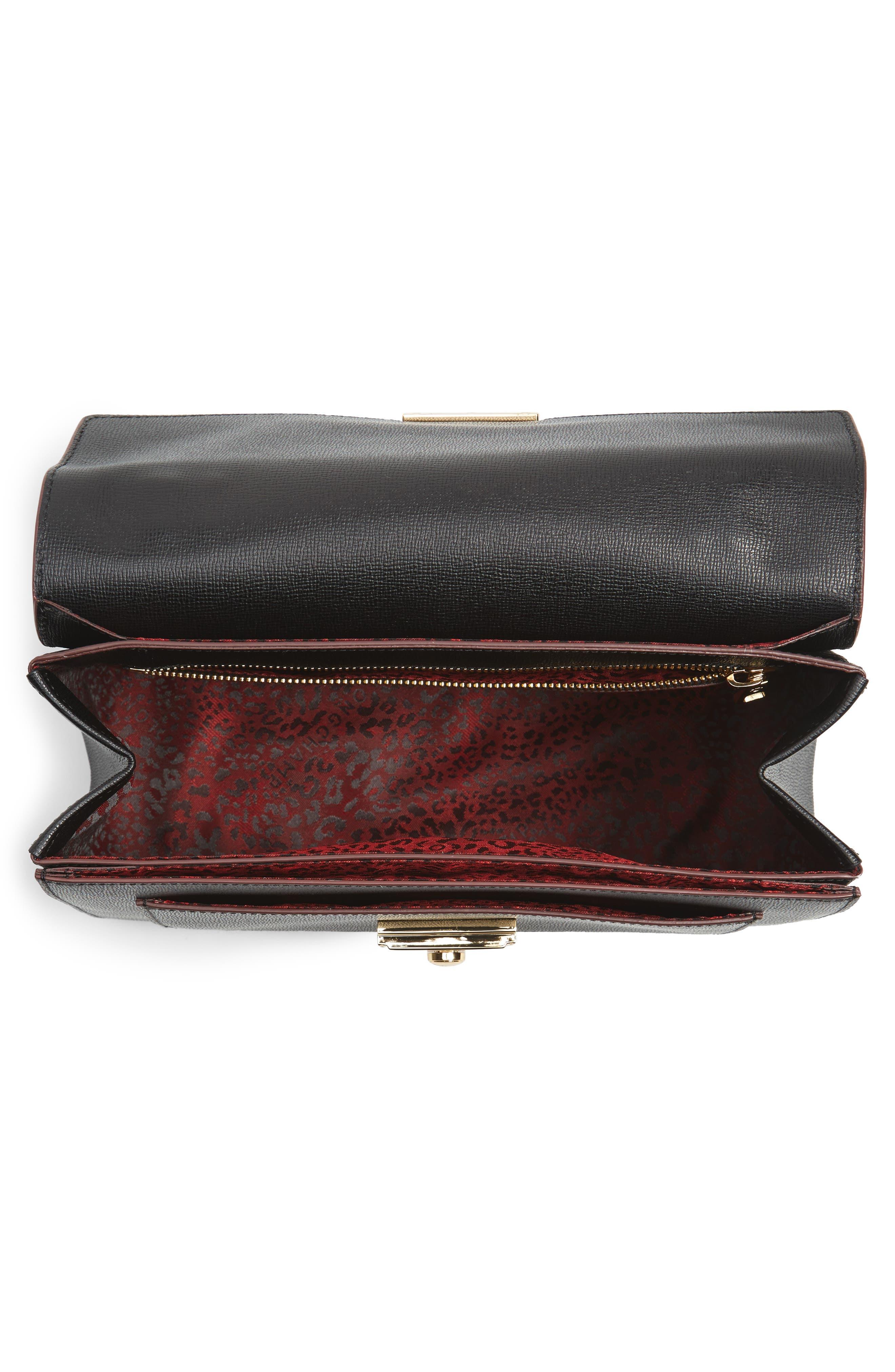 Pliage Heritage Leather Shoulder Bag,                             Alternate thumbnail 5, color,                             BLACK