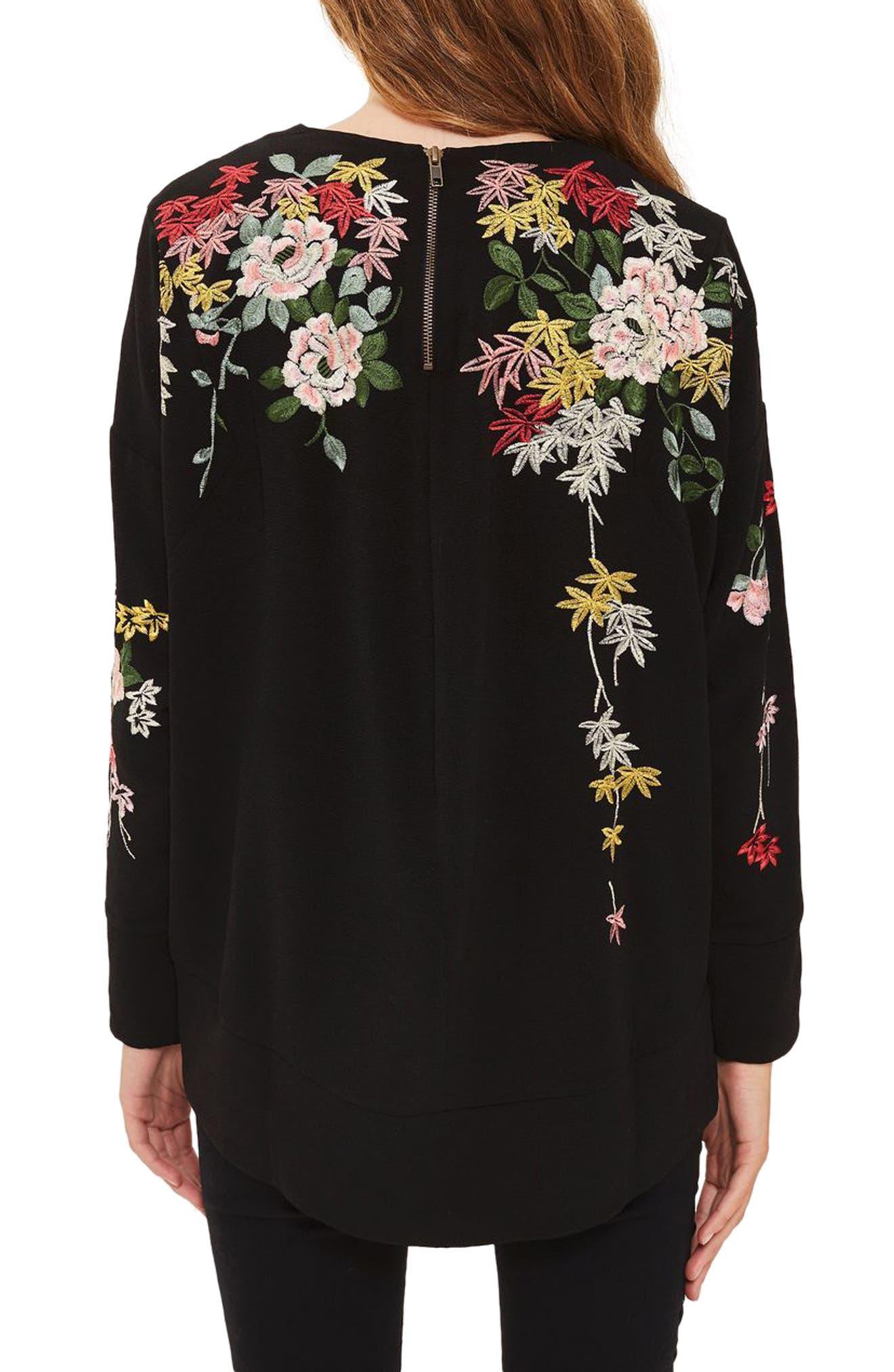 Kimono Embroidered Sweatshirt,                             Alternate thumbnail 2, color,                             001