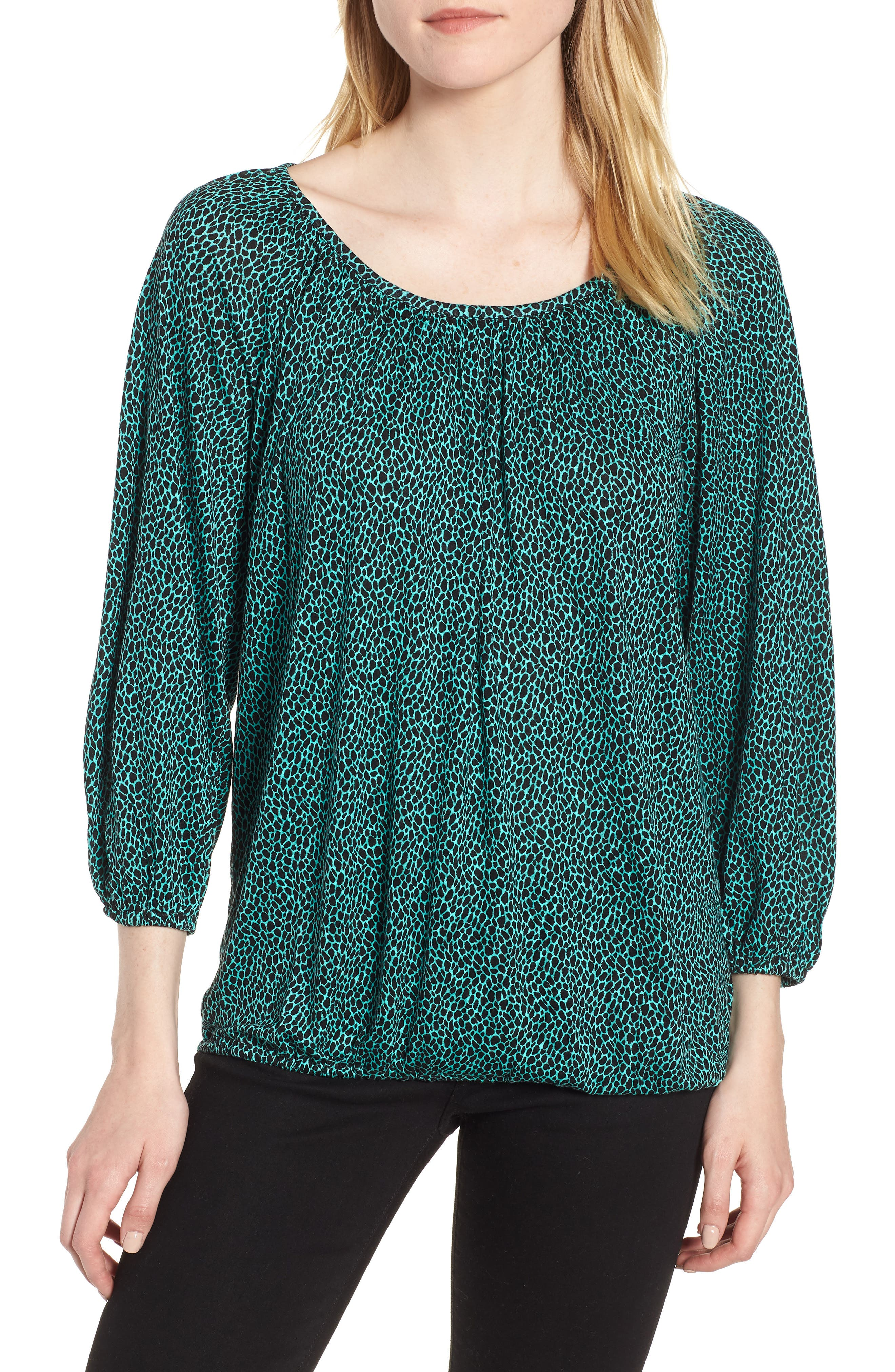 Graphic Leopard Print Peasant Top,                             Main thumbnail 1, color,