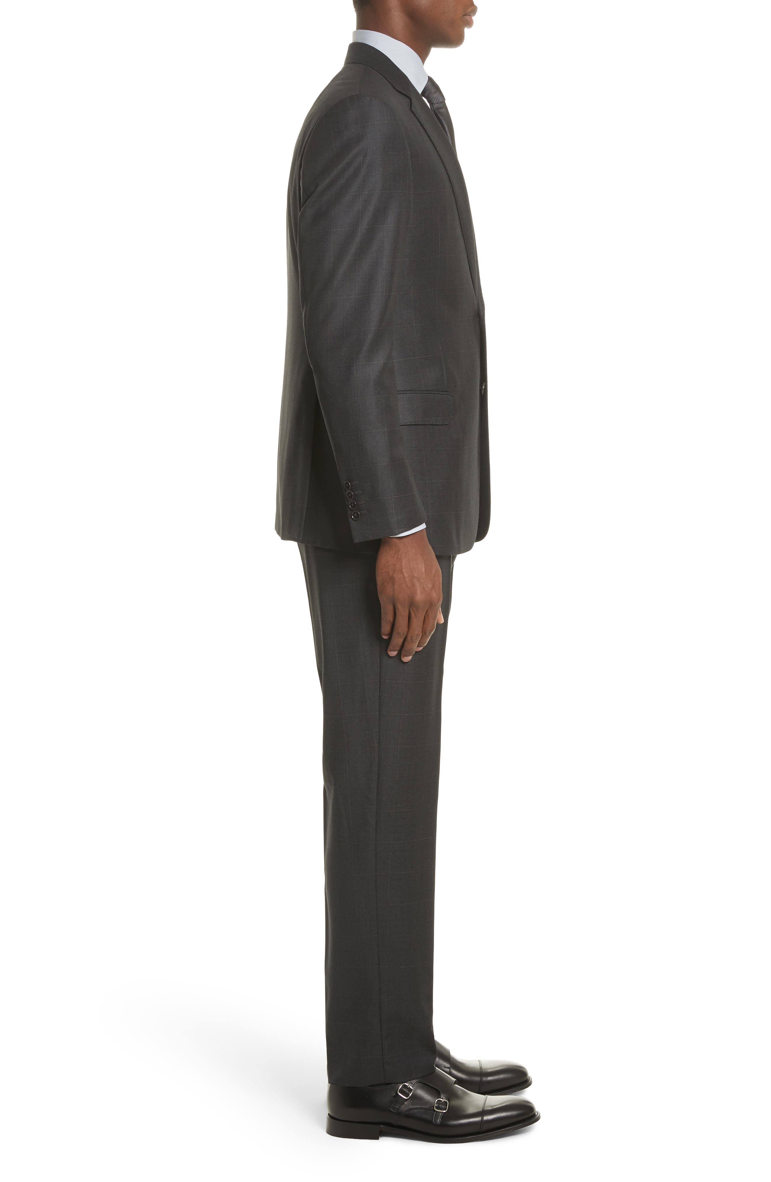 G-Line Trim Fit Windowpane Wool Suit,                             Alternate thumbnail 3, color,                             054