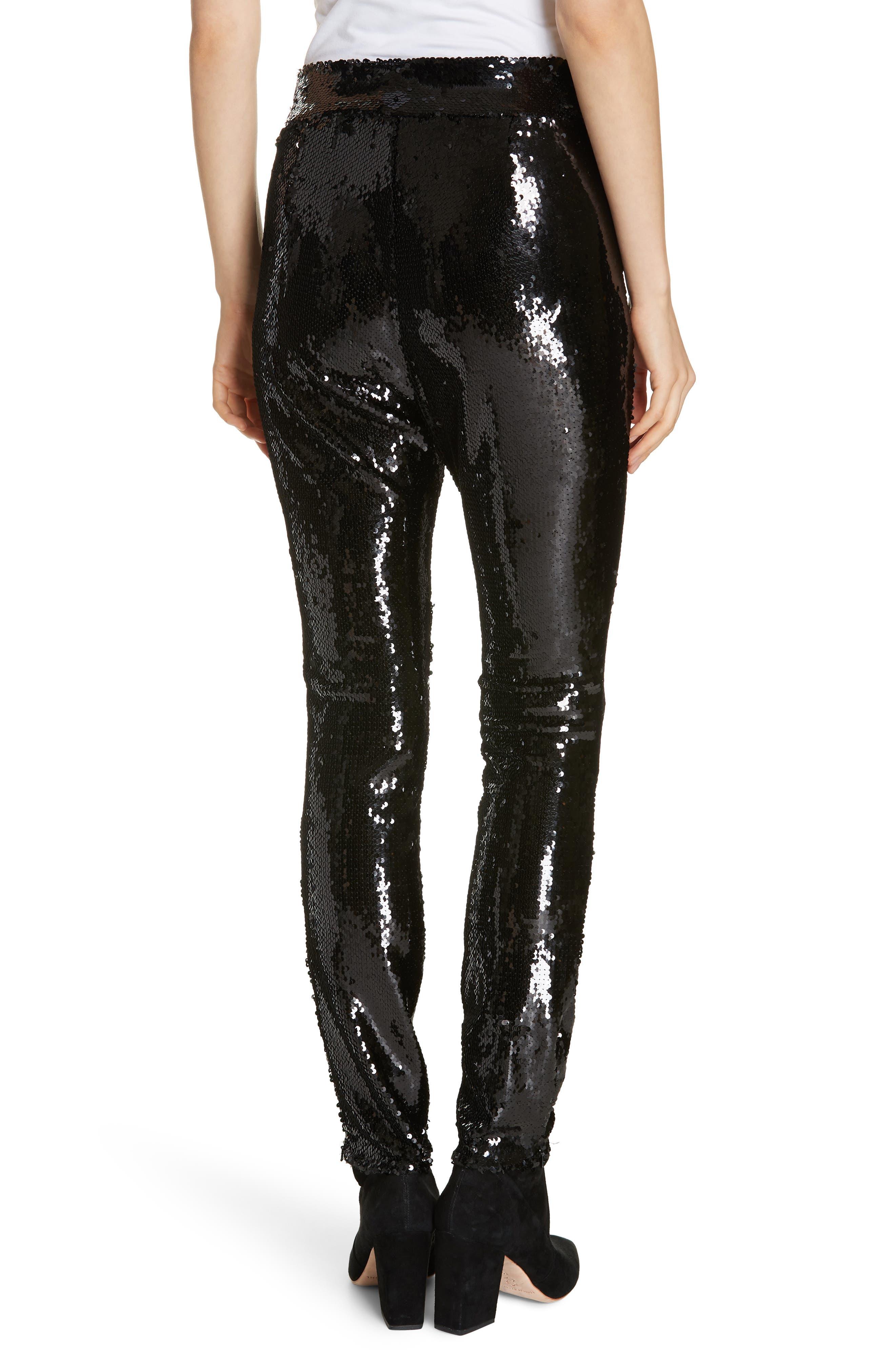 Sequin Skinny Pants,                             Alternate thumbnail 2, color,                             NOIR