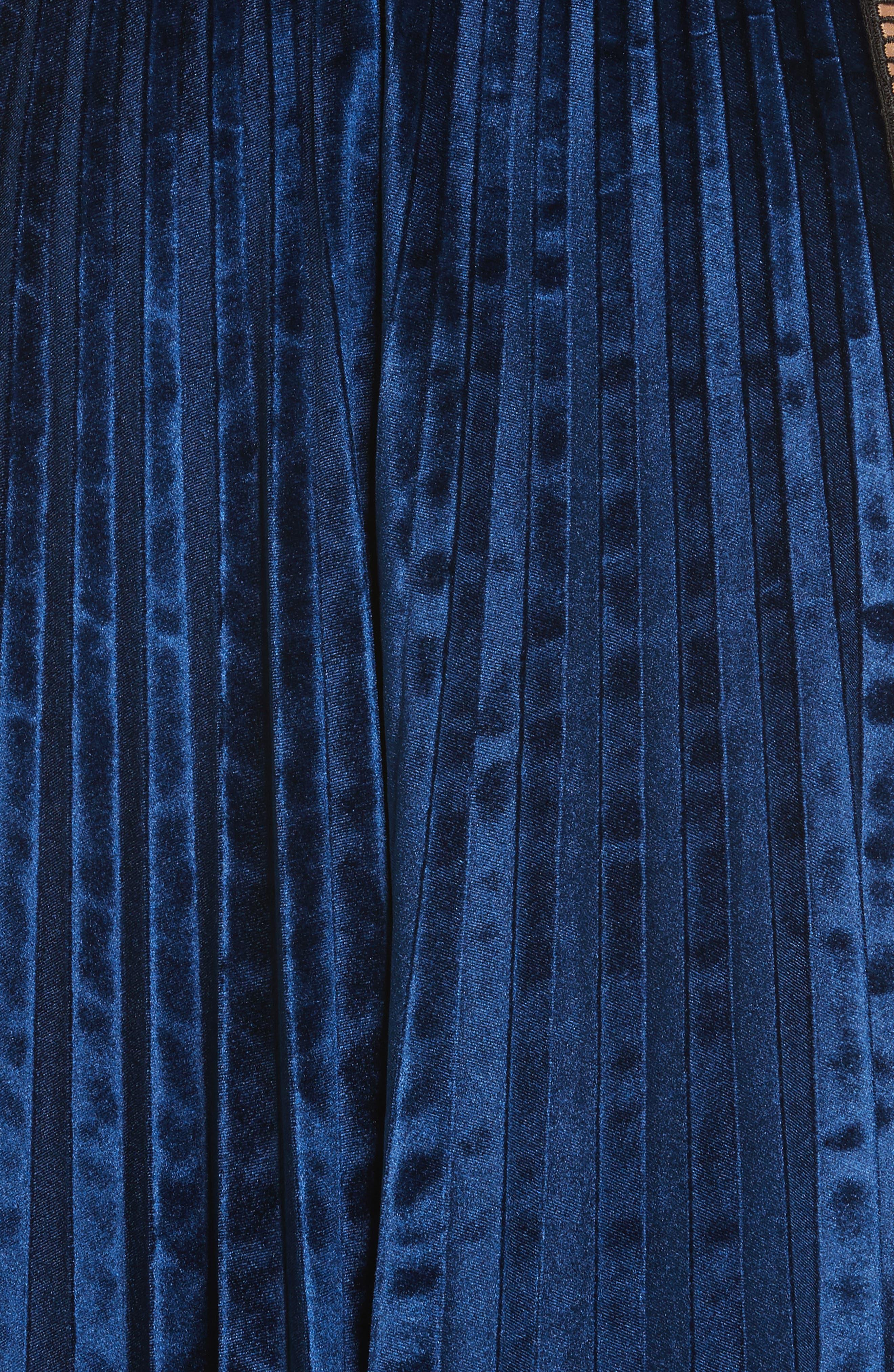 Paneled Velvet Midi Dress,                             Alternate thumbnail 5, color,                             400