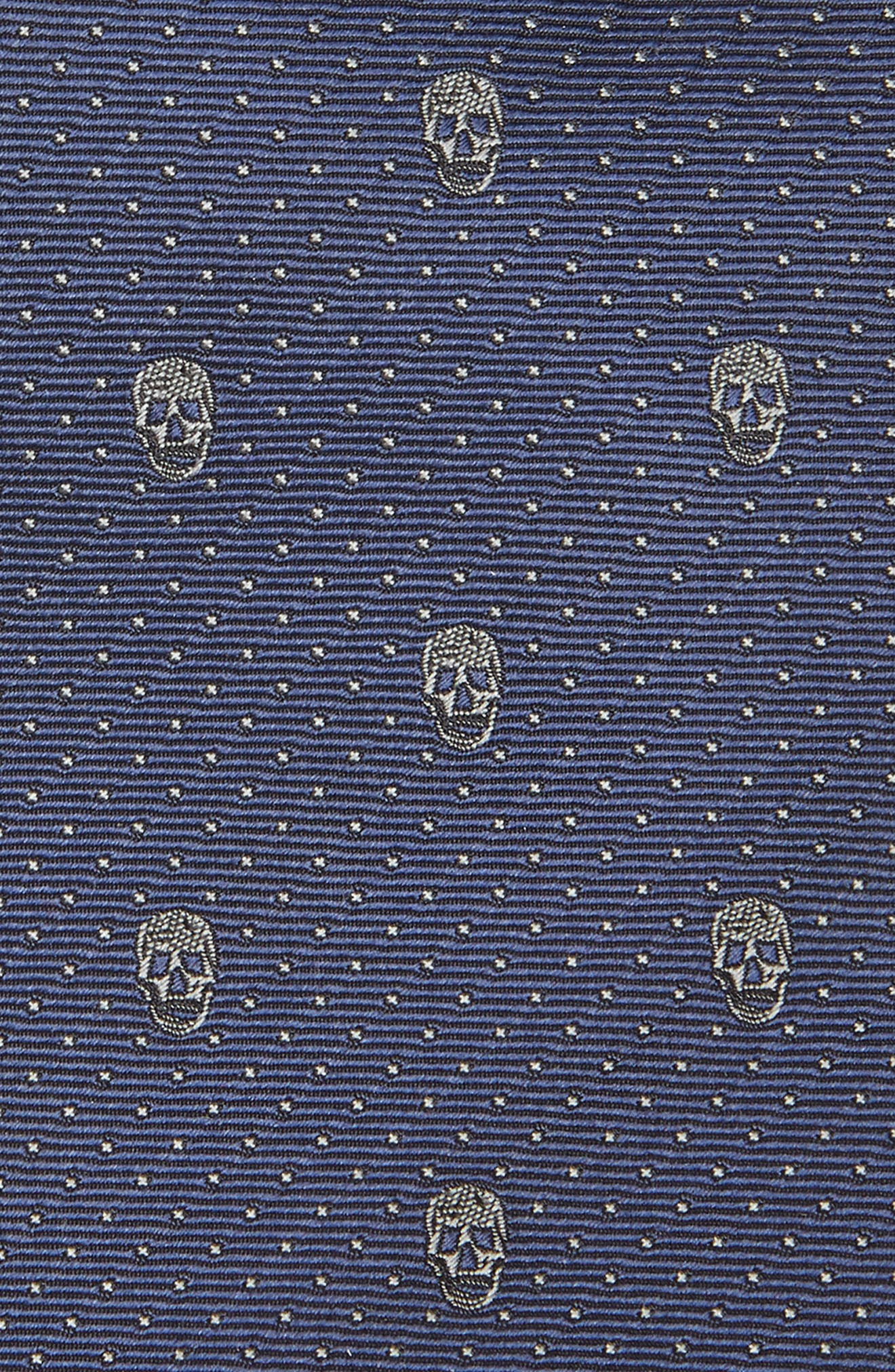 Skull Silk Tie,                             Alternate thumbnail 2, color,                             MIDNIGHT BLUE AND GREY