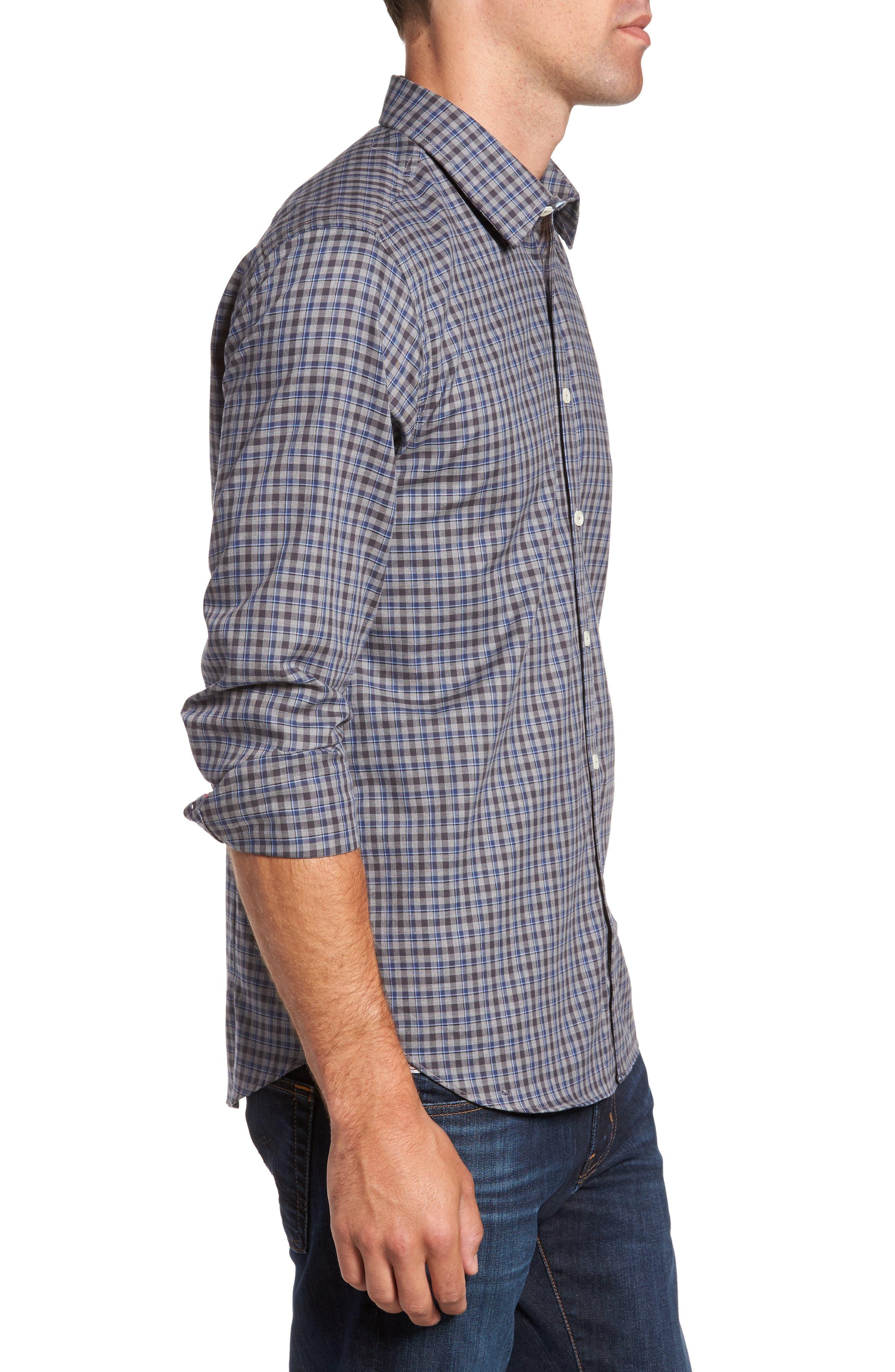 Comfort Fit Plaid Sport Shirt,                             Alternate thumbnail 3, color,