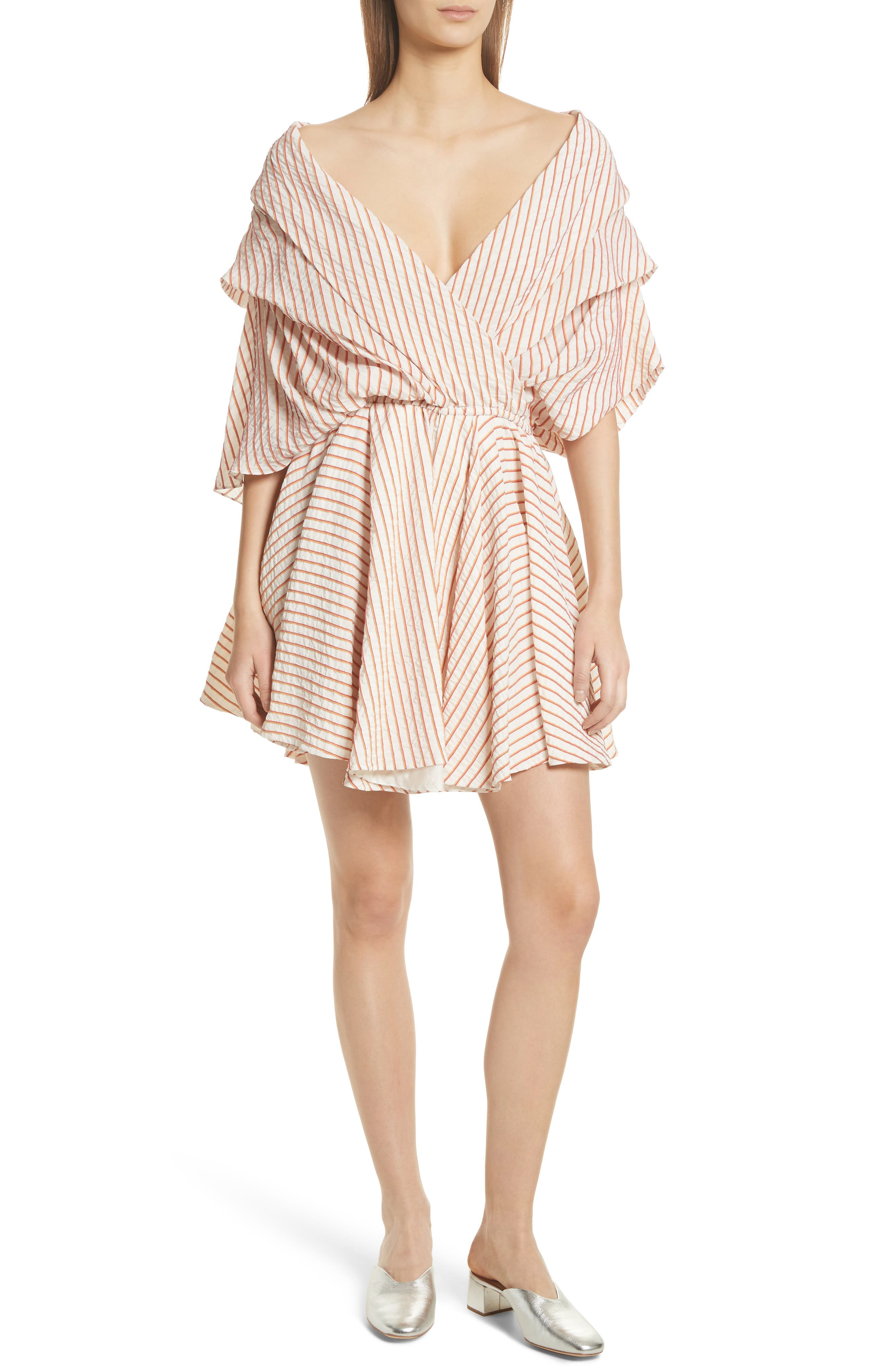 CAROLINE CONSTAS,                             Marcella Stripe Dress,                             Main thumbnail 1, color,                             800