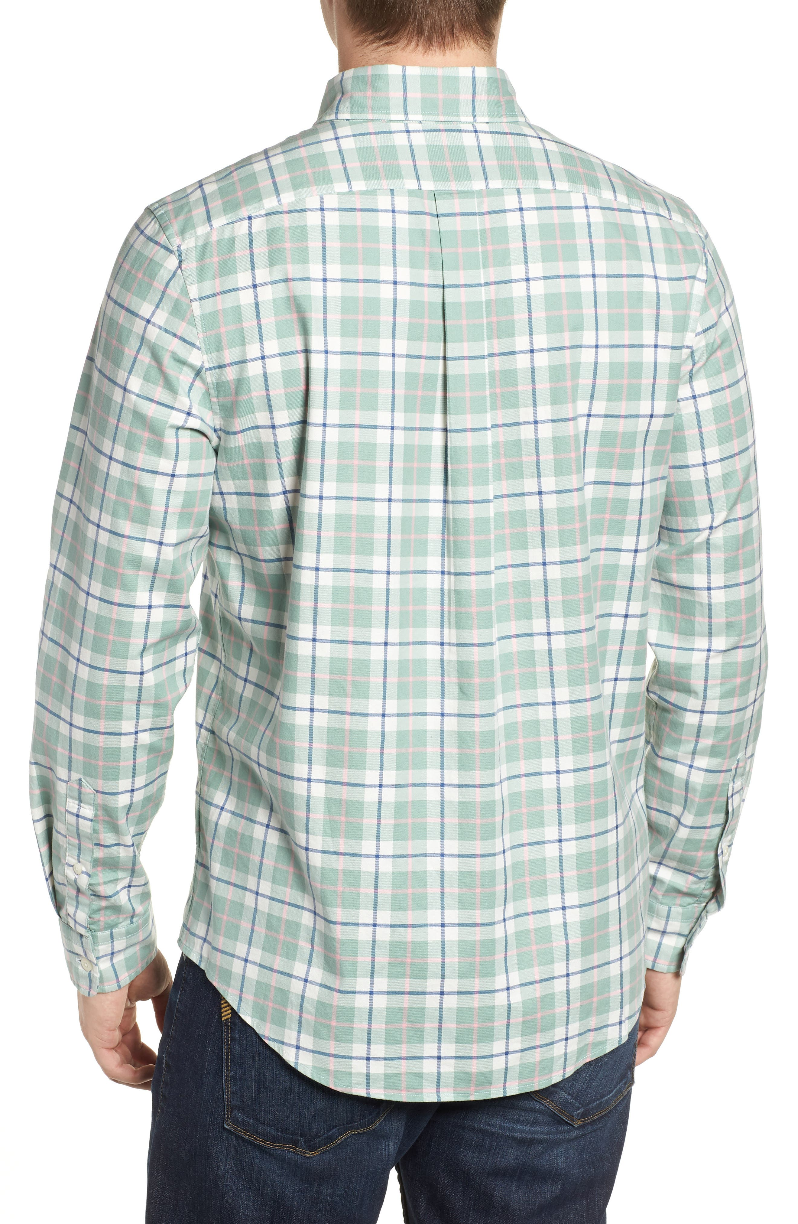 Riverbank Regular Fit Plaid Sport Shirt,                             Alternate thumbnail 3, color,                             DESERT GREEN