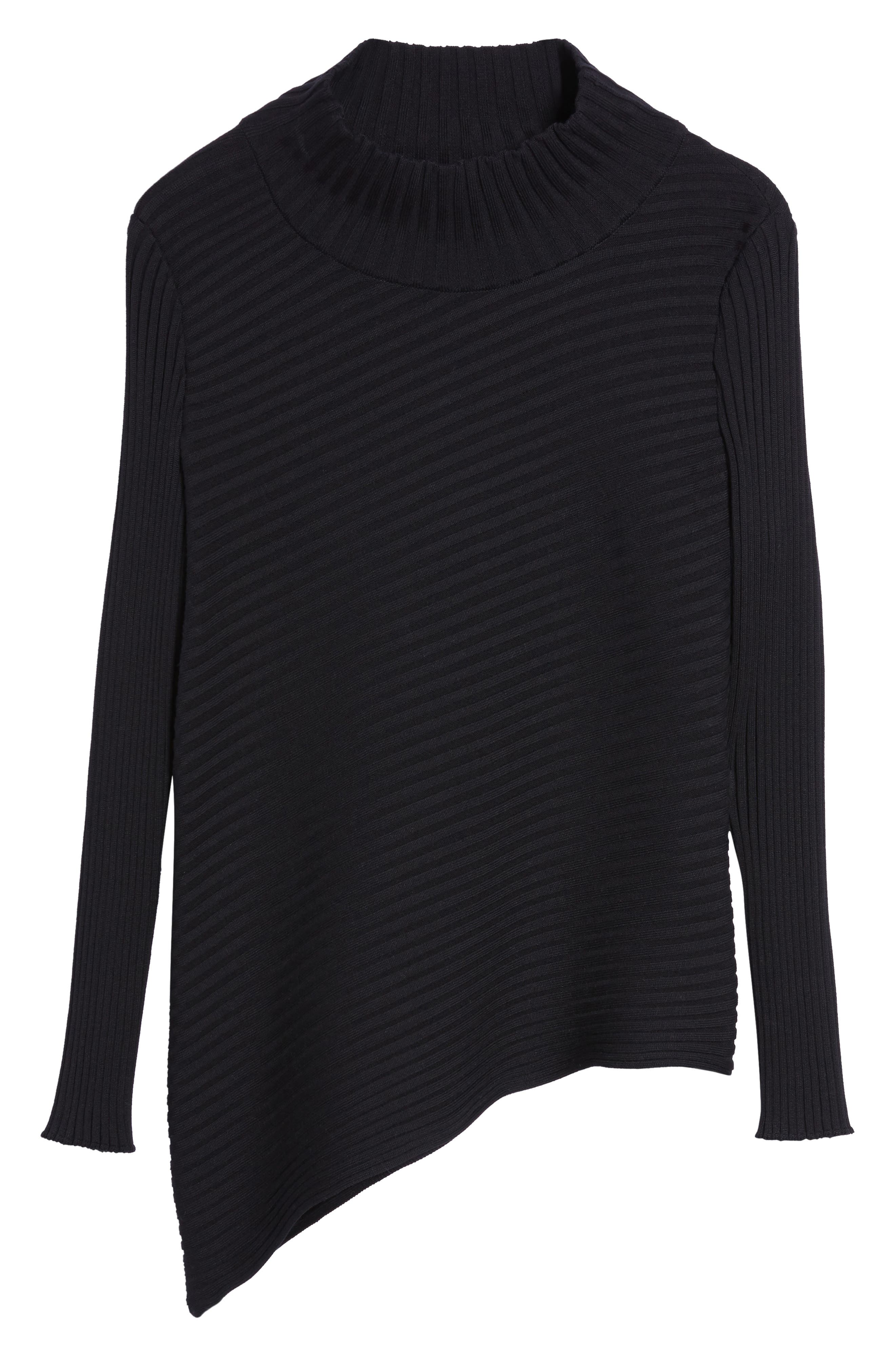 Ribbed Asymmetrical Sweater,                             Alternate thumbnail 6, color,                             001