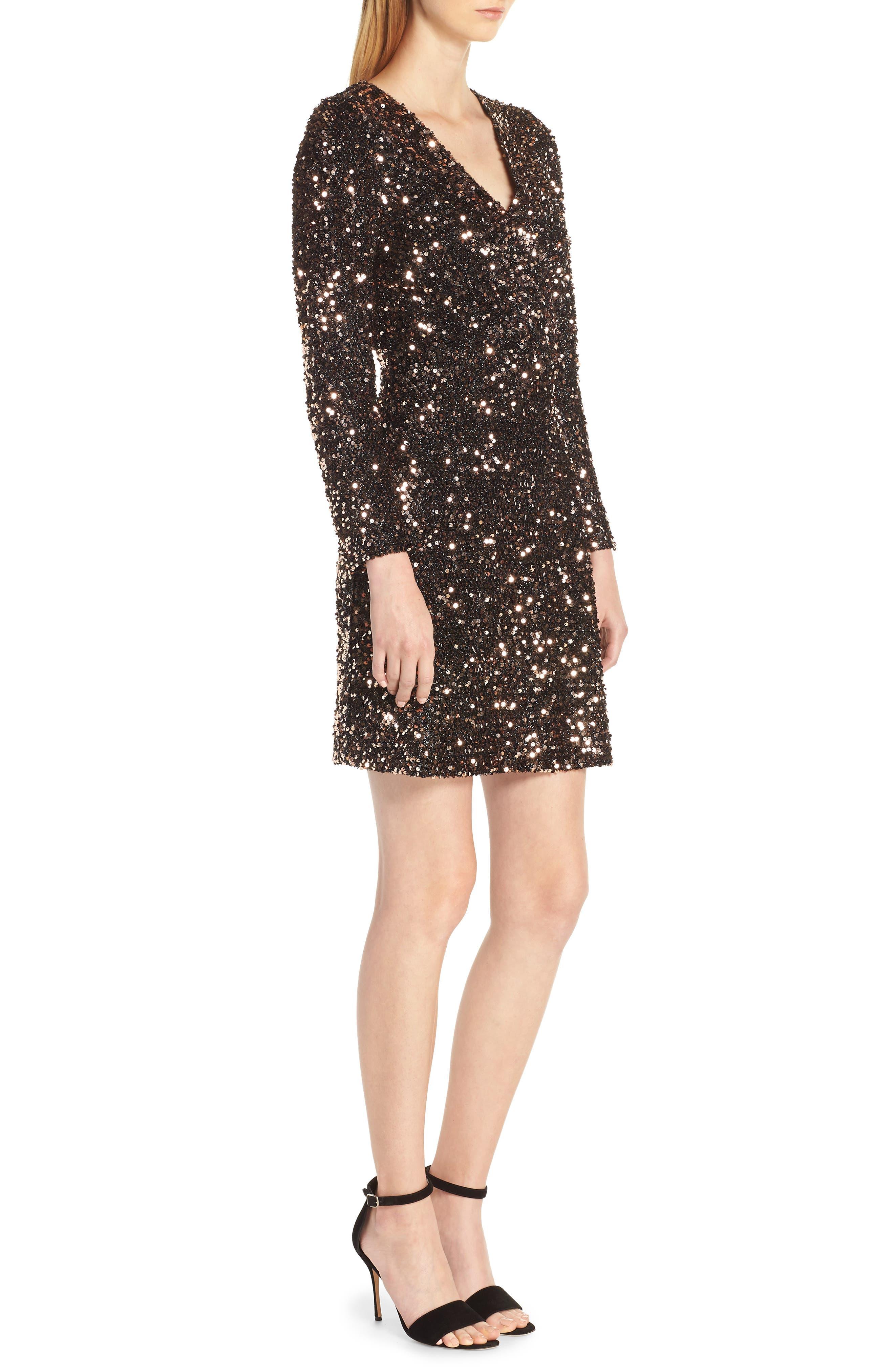 Sequin Sheath Dress,                             Alternate thumbnail 3, color,                             BRONZE