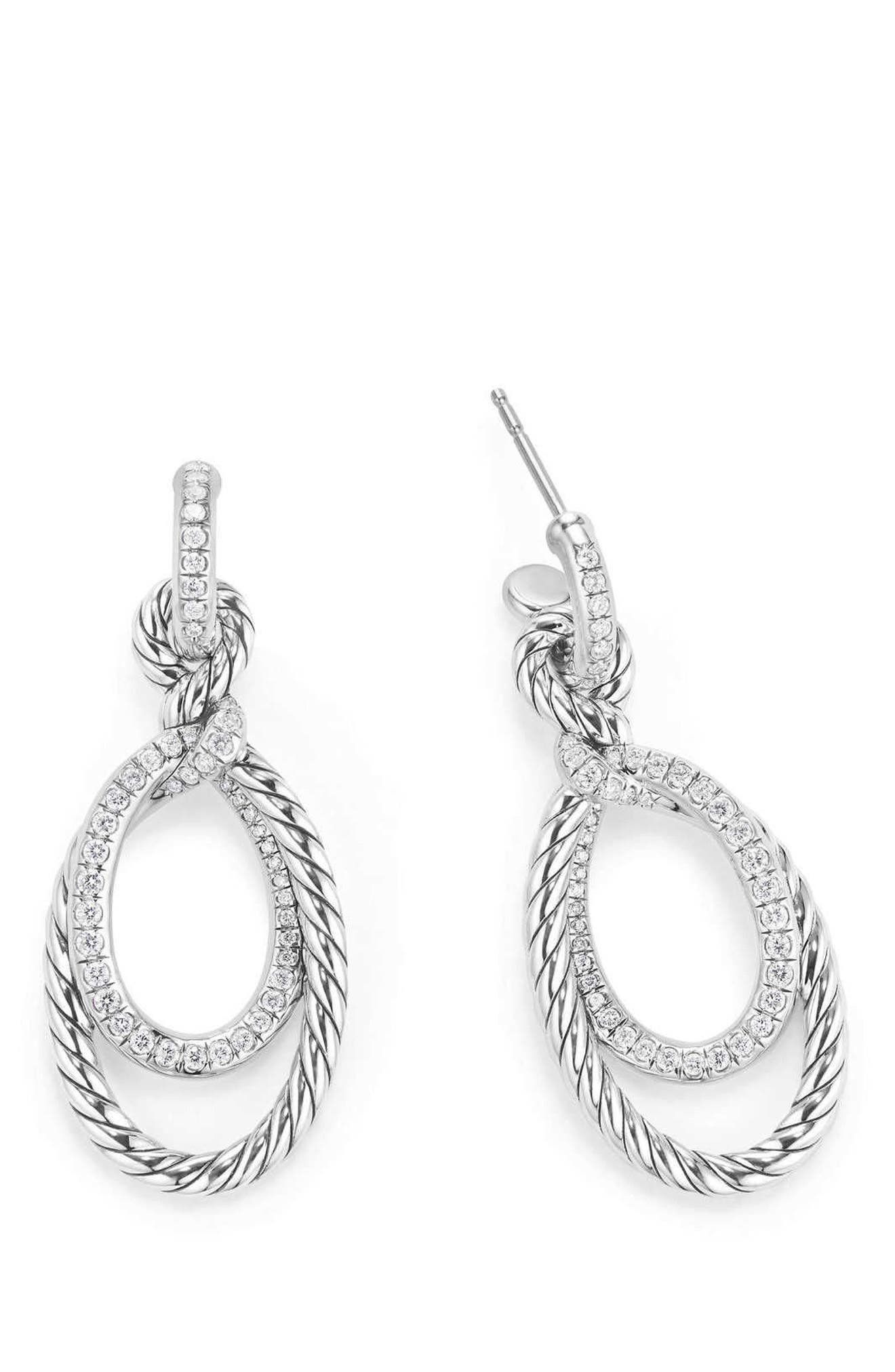 Continuance Drop Earrings with Diamonds,                             Alternate thumbnail 2, color,                             SILVER/ DIAMOND