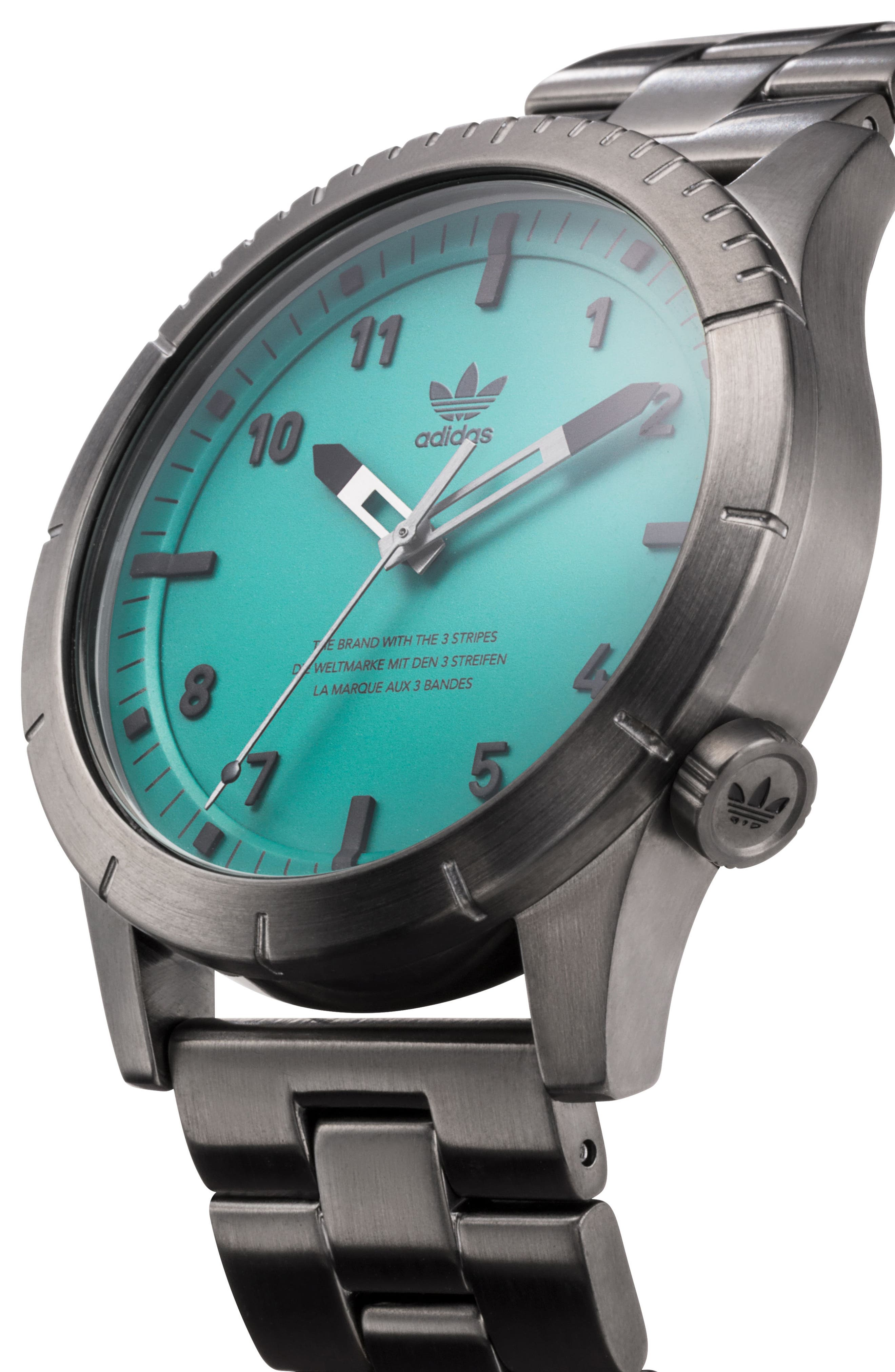 Cypher Bracelet Watch, 42mm,                             Alternate thumbnail 4, color,                             GUNMETAL/ GREEN