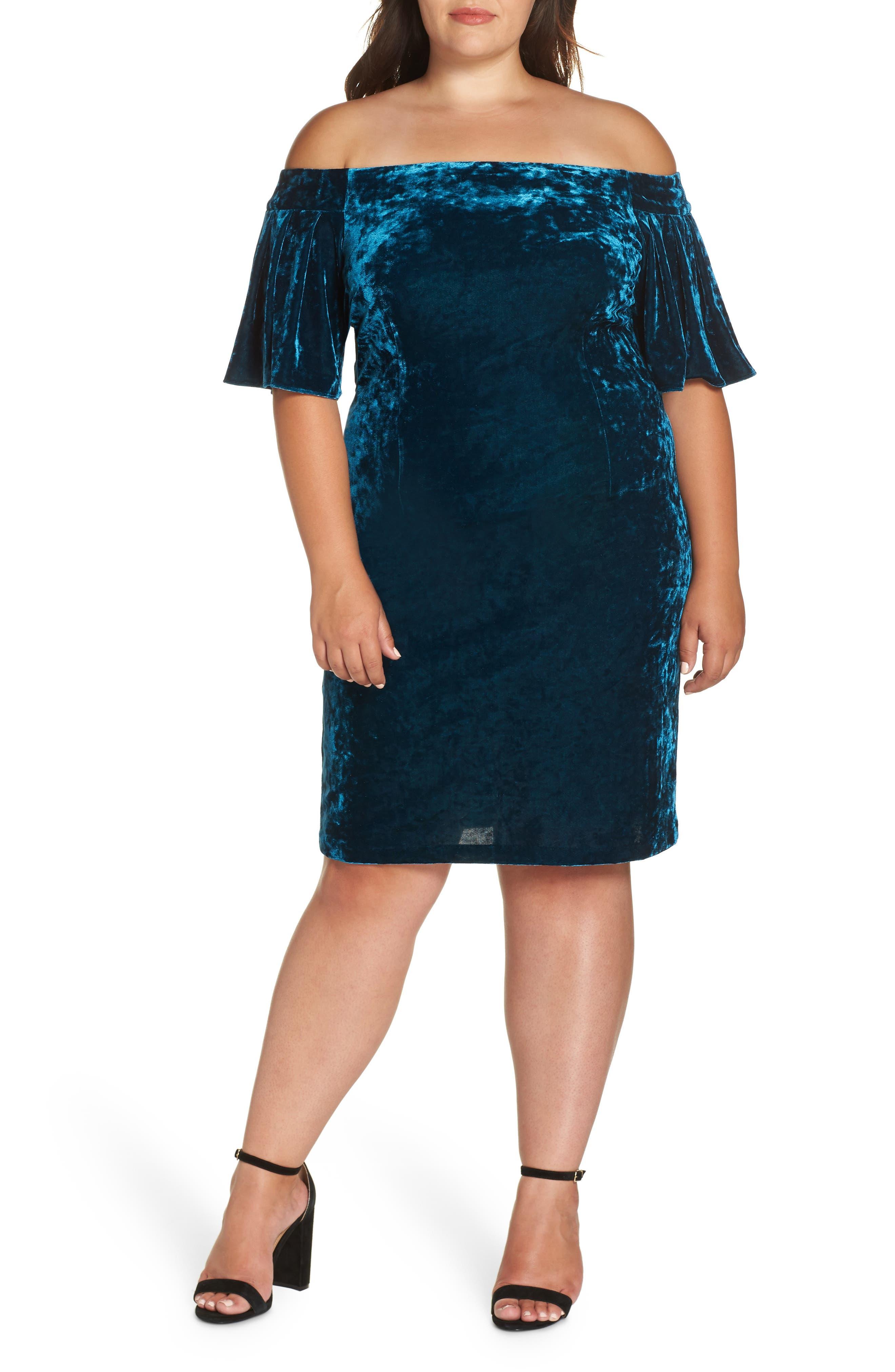 Off the Shoulder Velvet Cocktail Dress,                         Main,                         color, 436