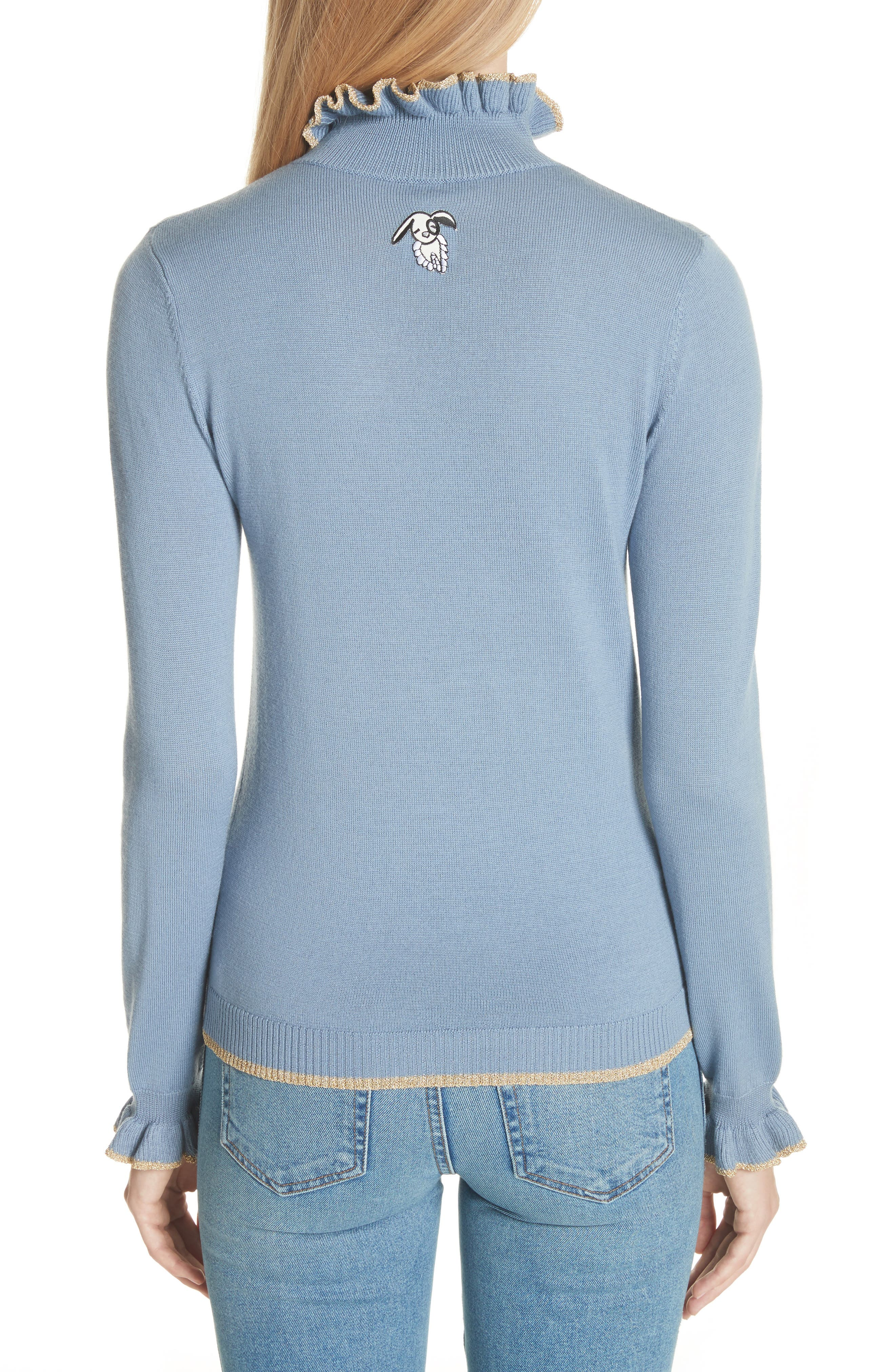 Norah Frill Neck Wool Sweater,                             Alternate thumbnail 2, color,                             400