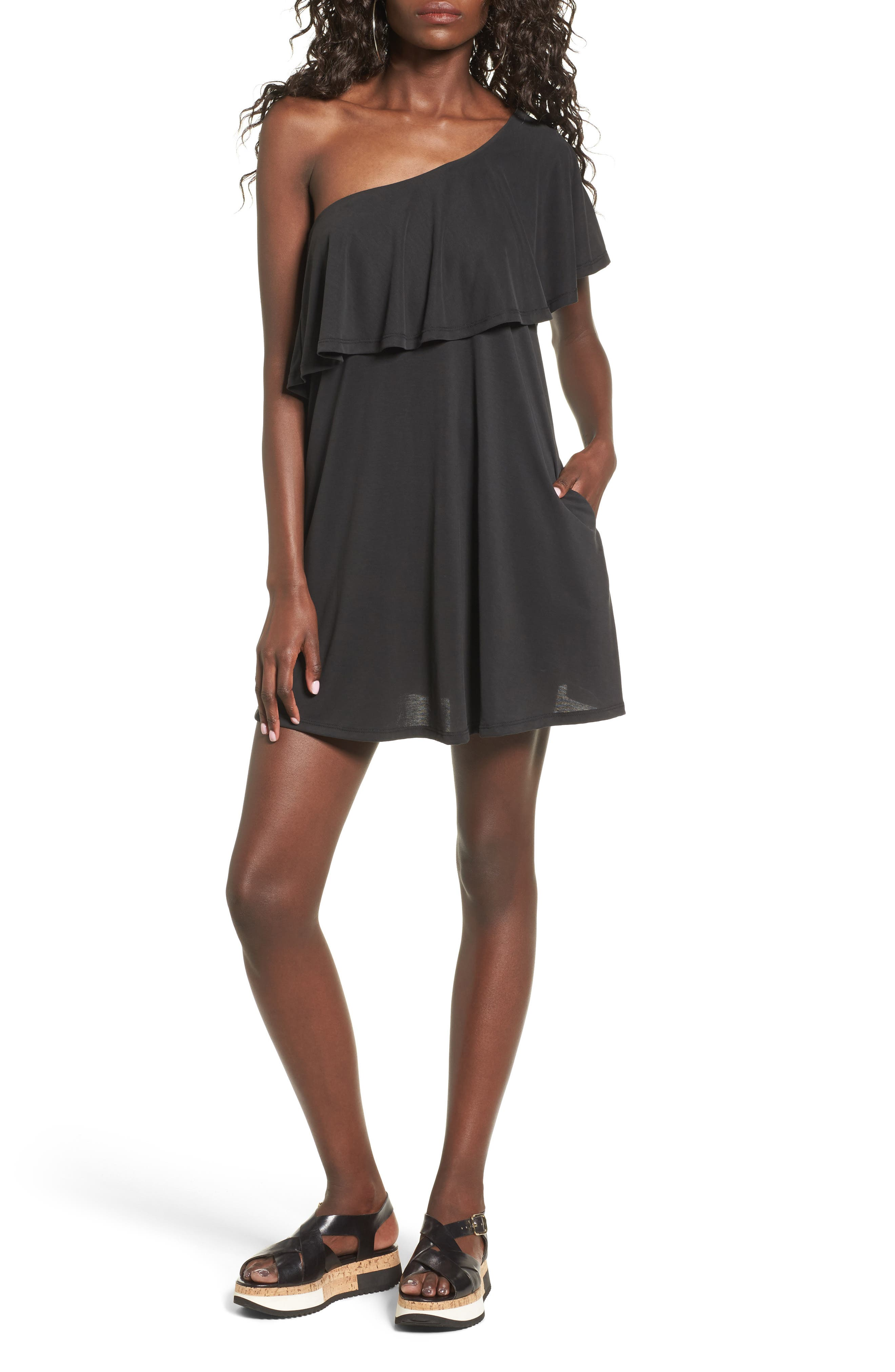 One-Shoulder Ruffle Dress,                             Main thumbnail 1, color,                             001
