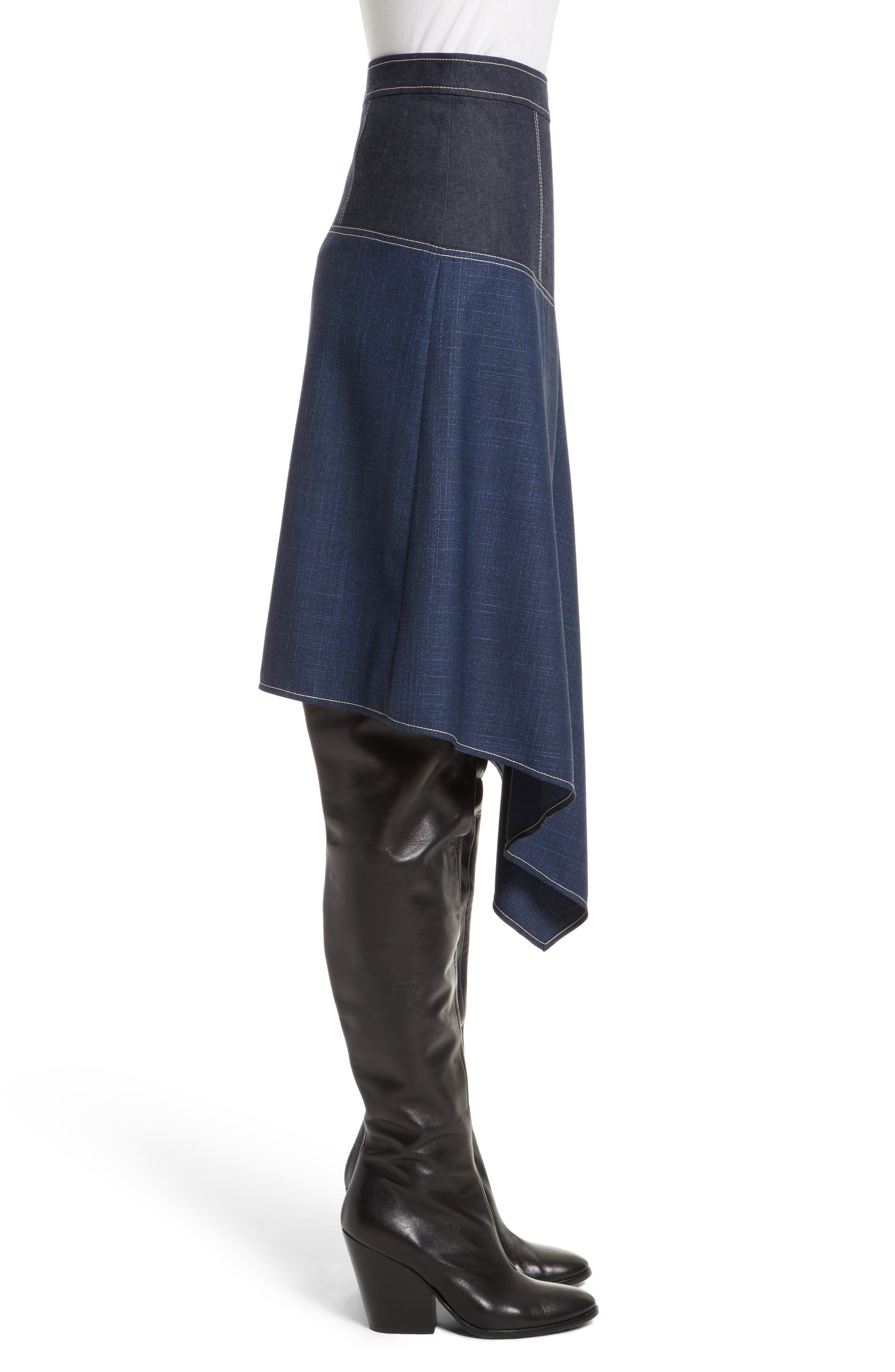 Asymmetrical Mixed Media Skirt,                             Alternate thumbnail 3, color,                             410