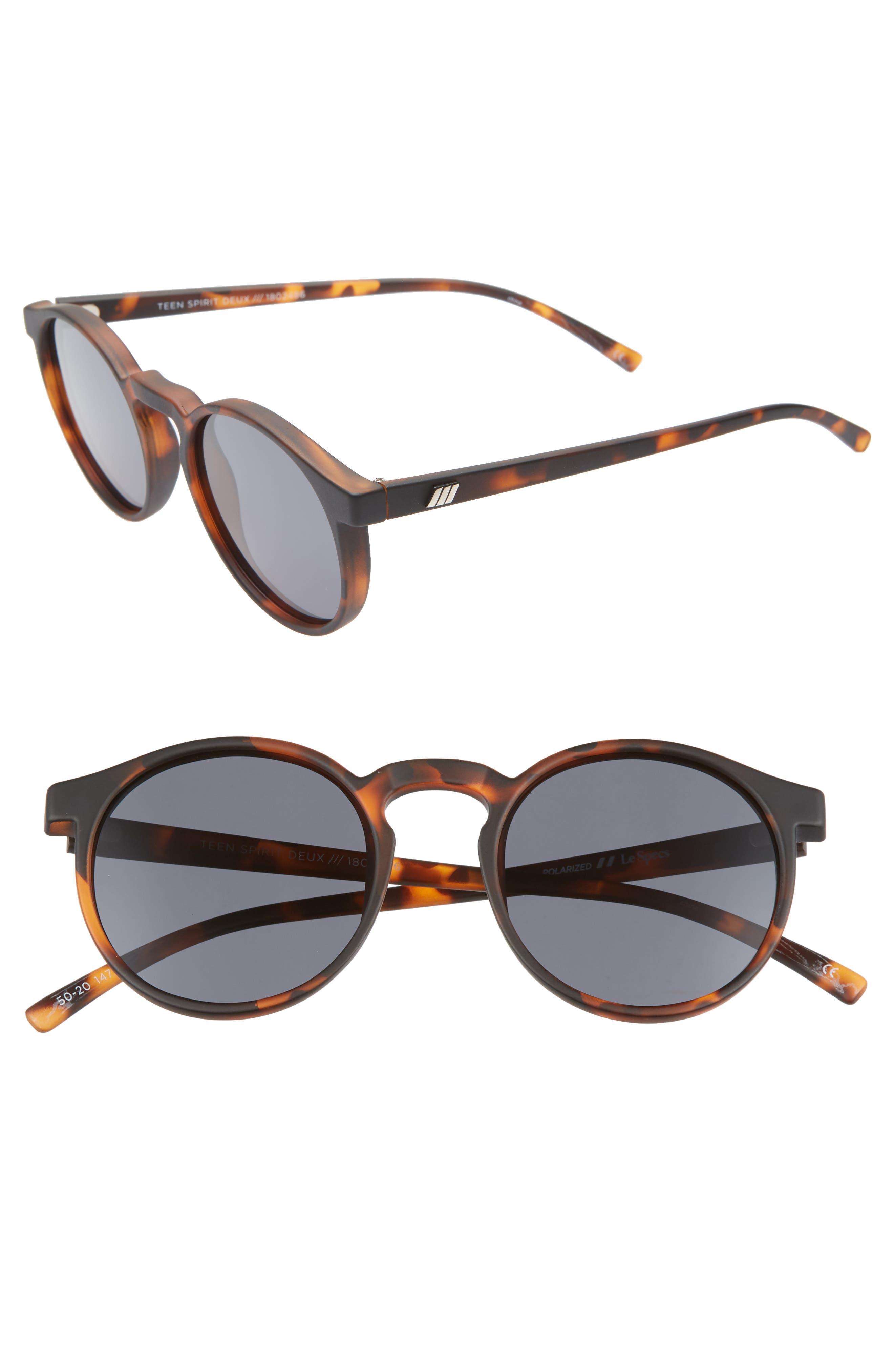 Le Specs Teen Spirit 50Mm Polarized Round Sunglasses - Matte Tortoise