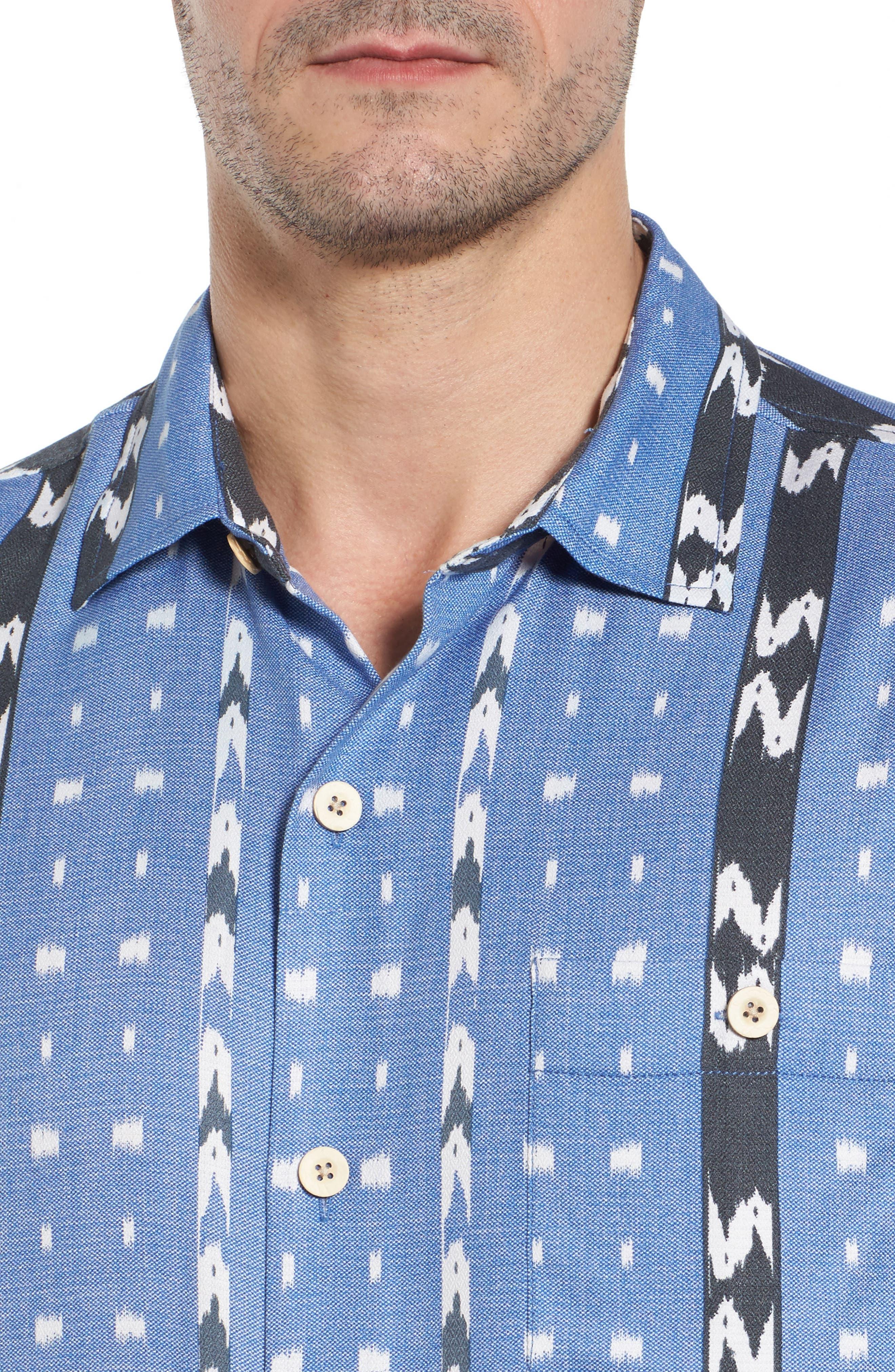 Ikat Don't Stop Silk Blend Camp Shirt,                             Alternate thumbnail 4, color,                             400
