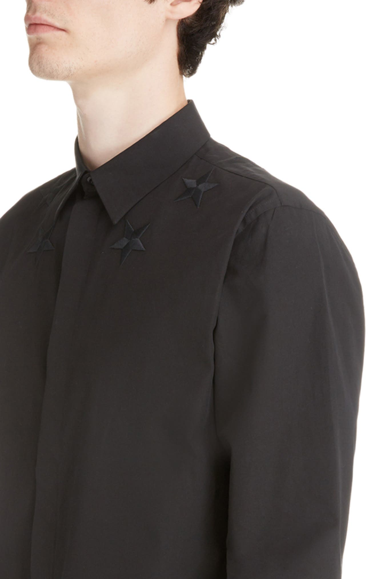 Embroidered Star Woven Sport Shirt,                             Alternate thumbnail 2, color,                             BLACK