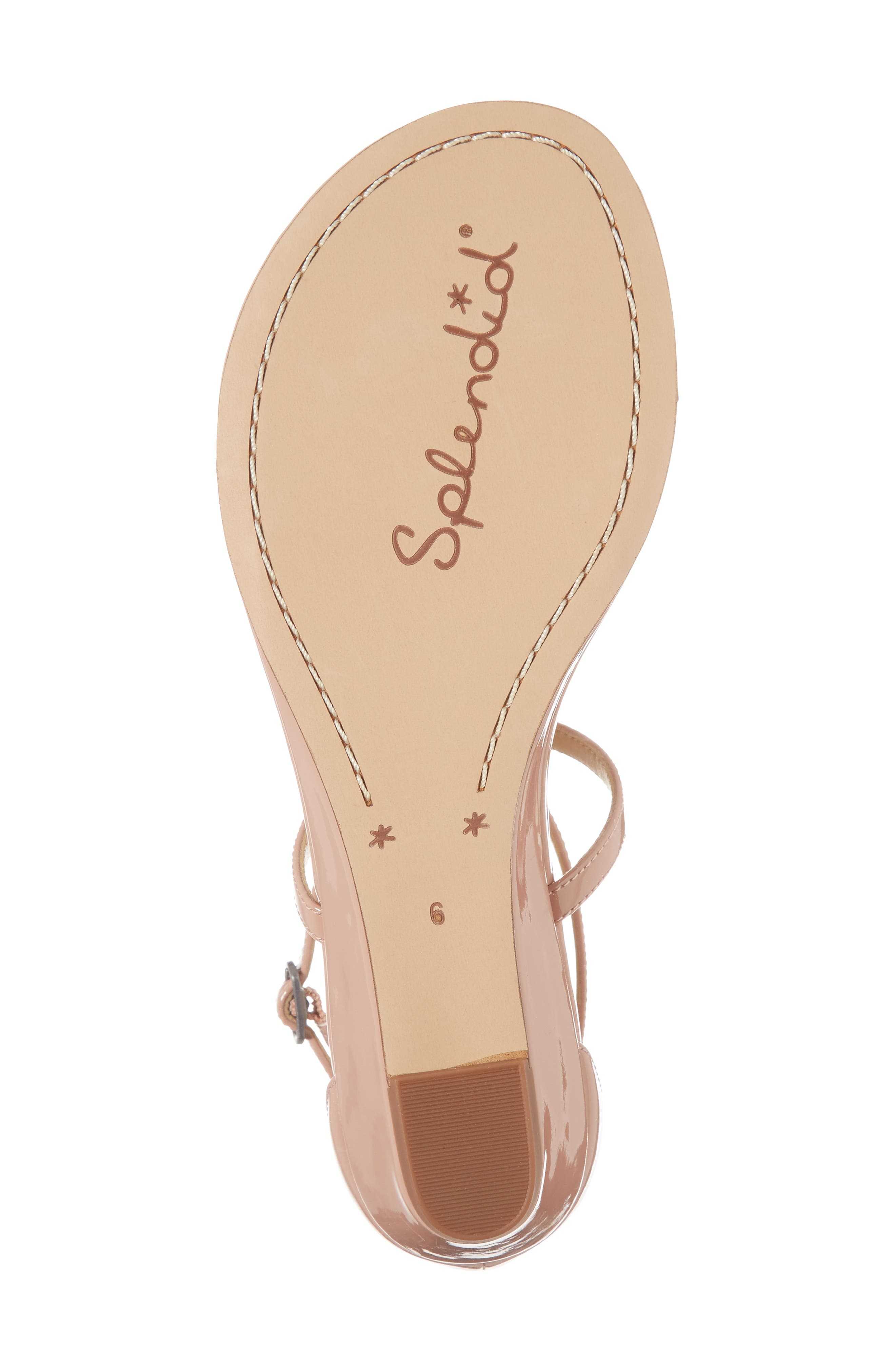 Bryce T-Strap Wedge Sandal,                             Alternate thumbnail 6, color,                             DARK BLUSH PATENT