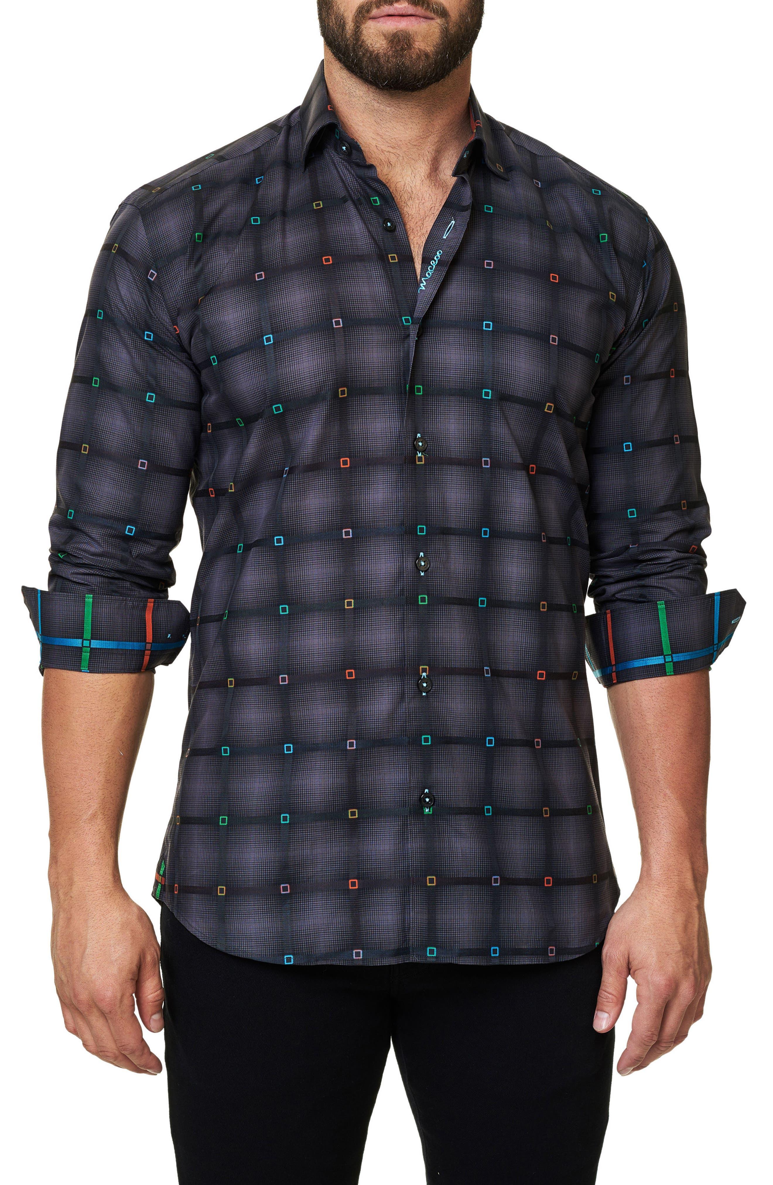 Trim Fit Grid Print Sport Shirt,                             Alternate thumbnail 3, color,                             002